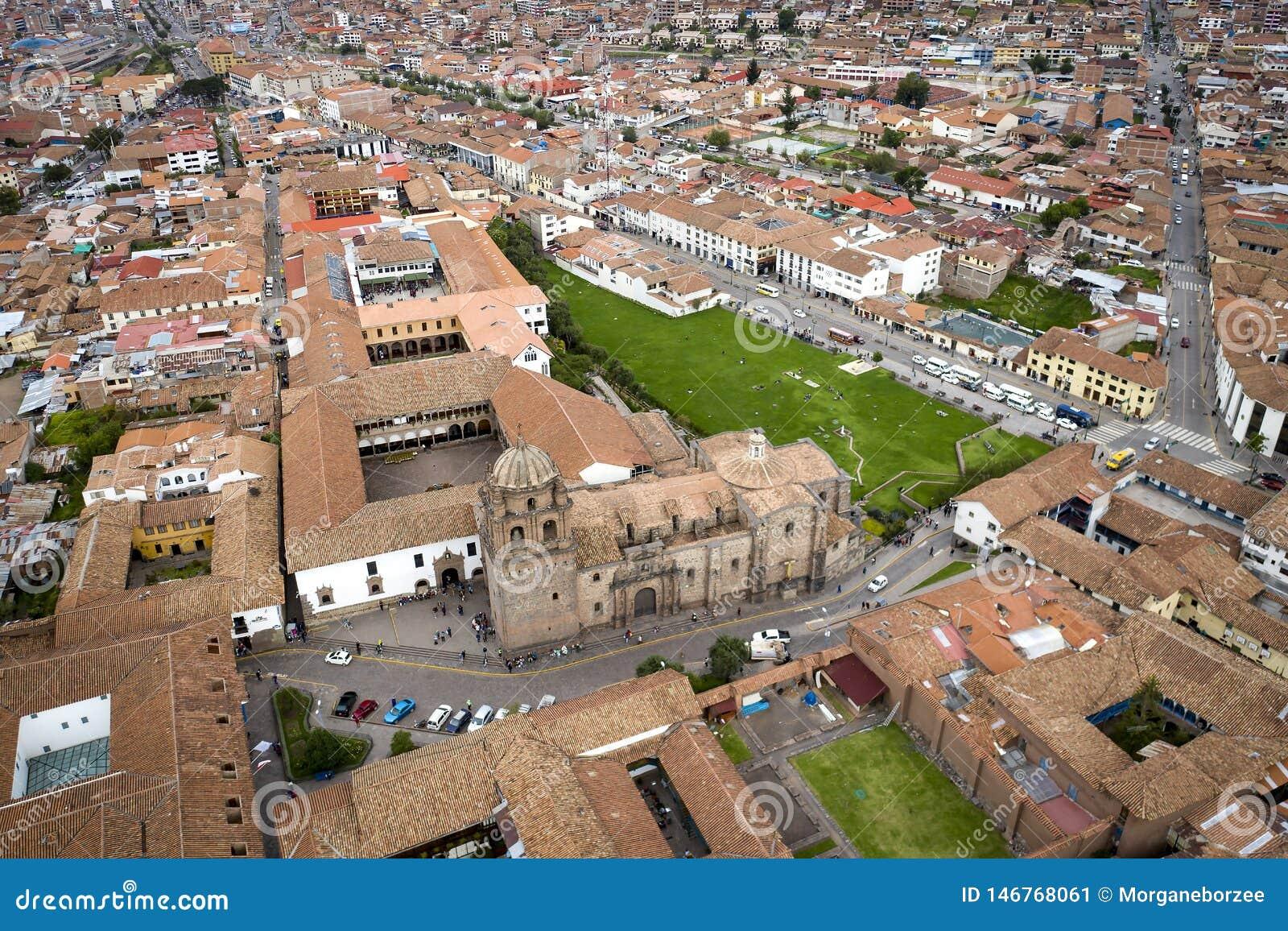 La vista aérea del templo del Sun de los incas nombró a Coricancha Qorikancha