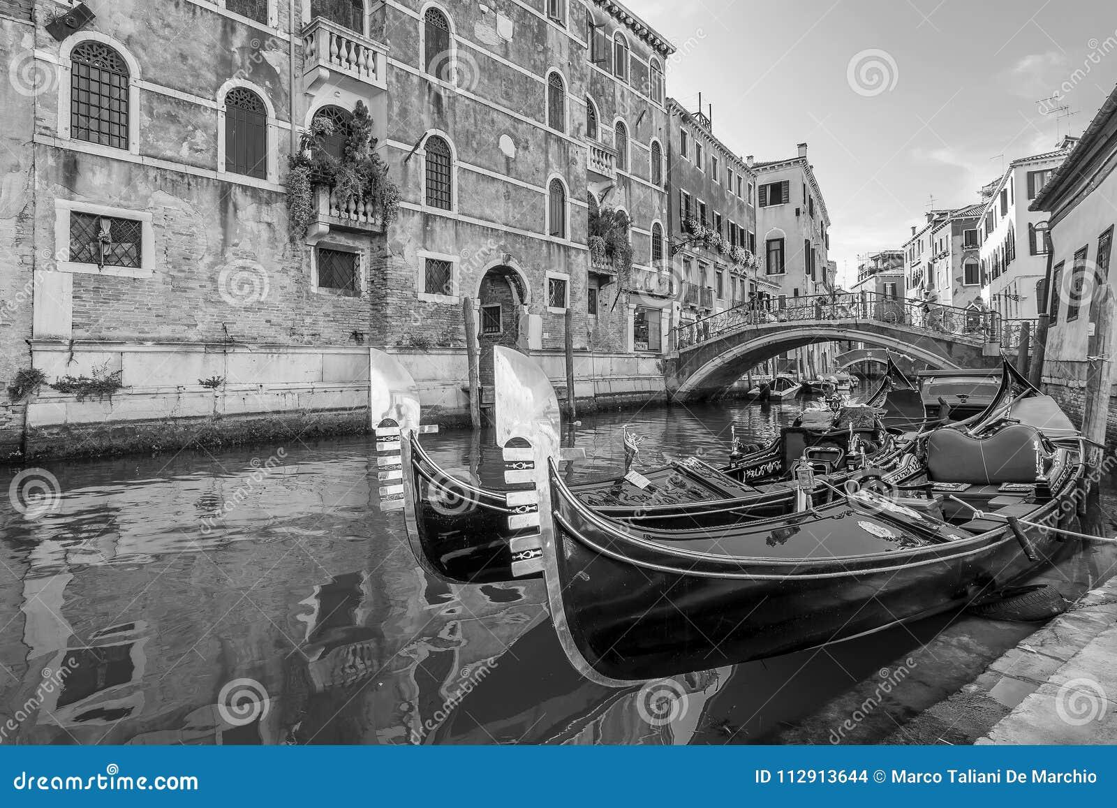La vista blanco y negro de góndolas típicas parqueó en un canal veneciano, Venecia, Italia