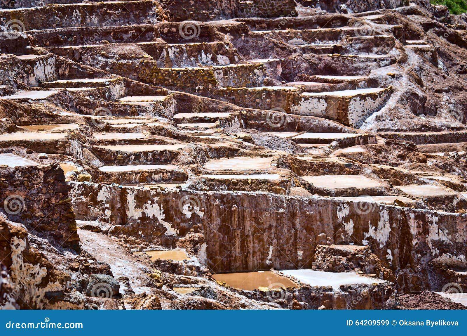 La vista de la sal acumula, Maras, Cuzco, Perú