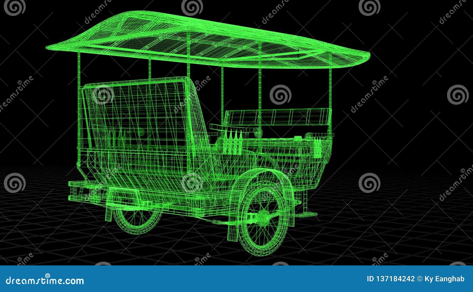 La vista della Cavo-struttura di Tuk Tuk in Asia completamente 3D ha reso