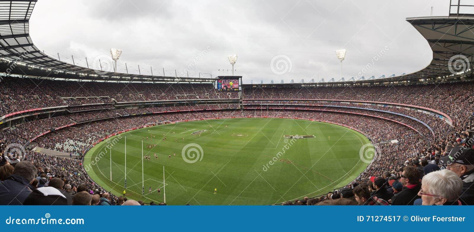 La vista panorámica del grillo de Melbourne molió en ANZAC Day 2015