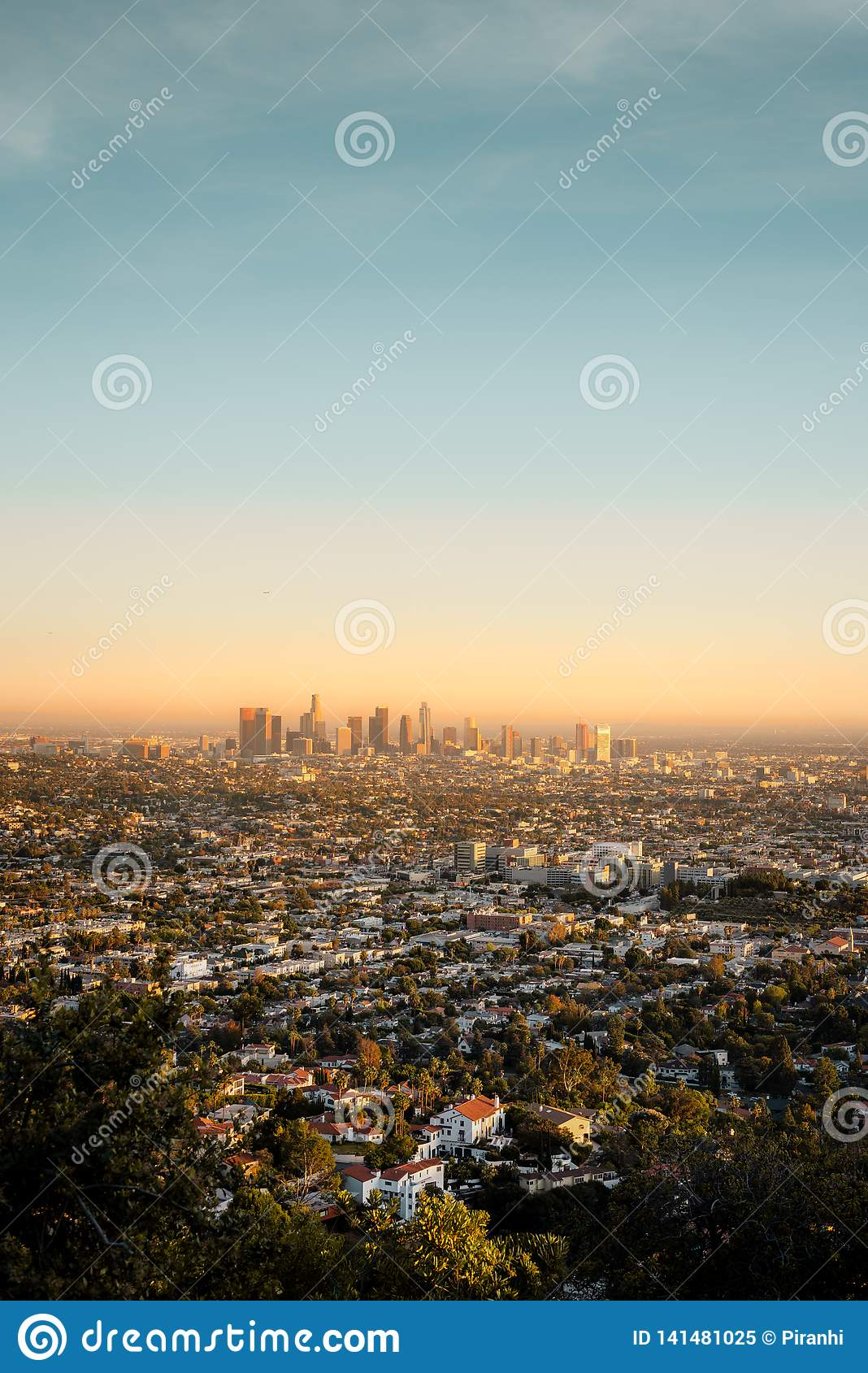 The LA vista taken from Griffith Observatory at Sunset