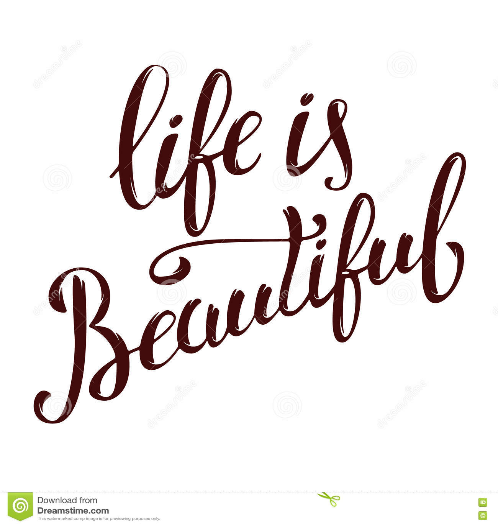 La Vita è Bella Iscrizione Disegnata A Mano Isolata Su Backgr Bianco