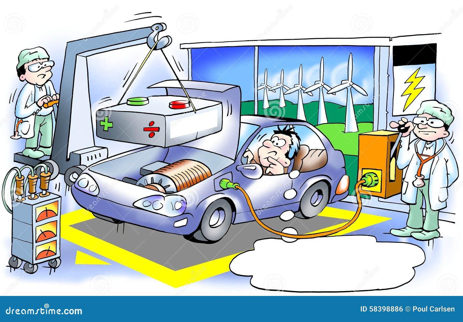la voiture lectrique obtient d calage une grande batterie lourde illustration stock. Black Bedroom Furniture Sets. Home Design Ideas