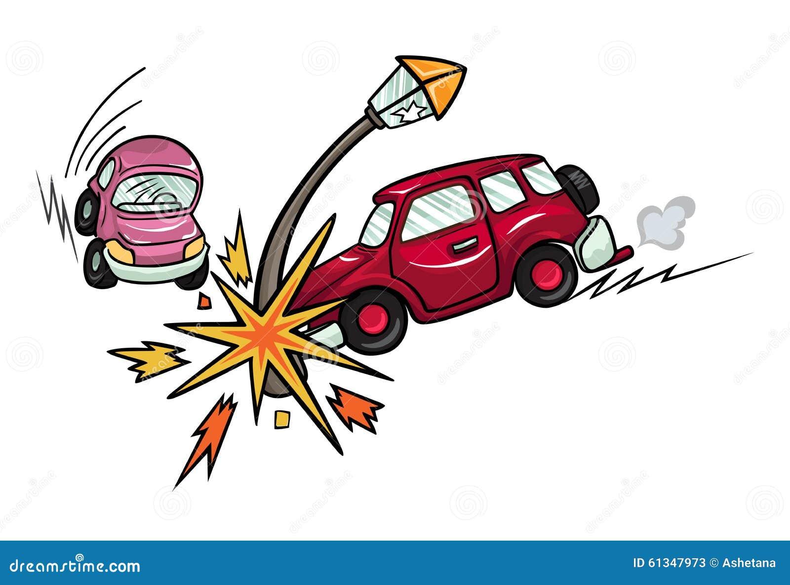 La voiture de bande dessinée s est écrasée dans un lampadaire