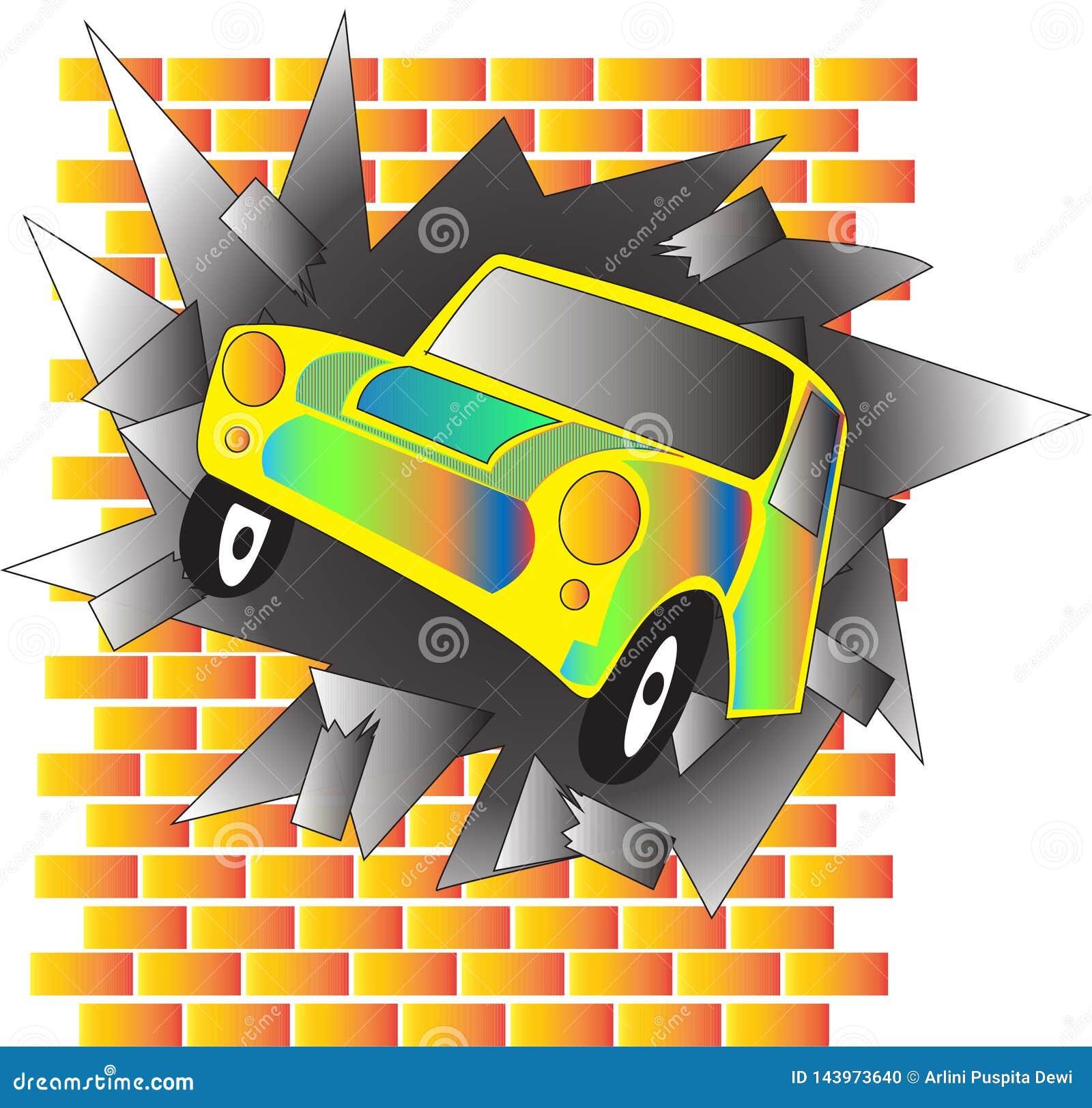 La voiture a heurté le mur