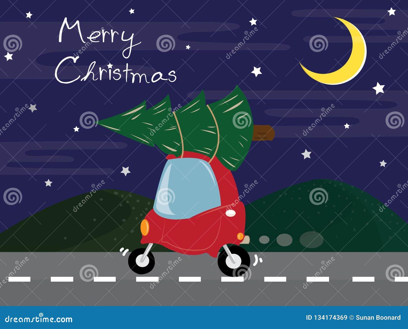 La voiture rouge mignonne portent l arbre de Noël sur la route