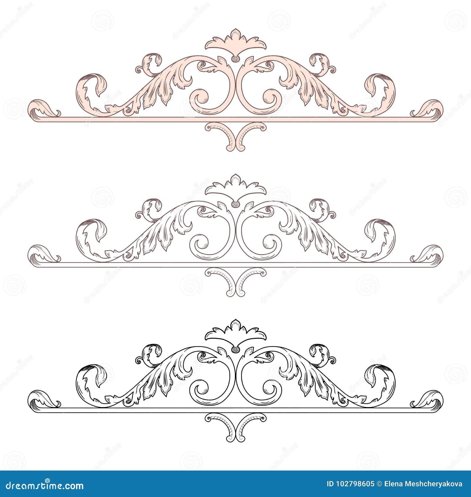 La voluta victoriana barroca de la hoja del ornamento floral del monograma de la frontera del marco del vintage grabó el tatuaje