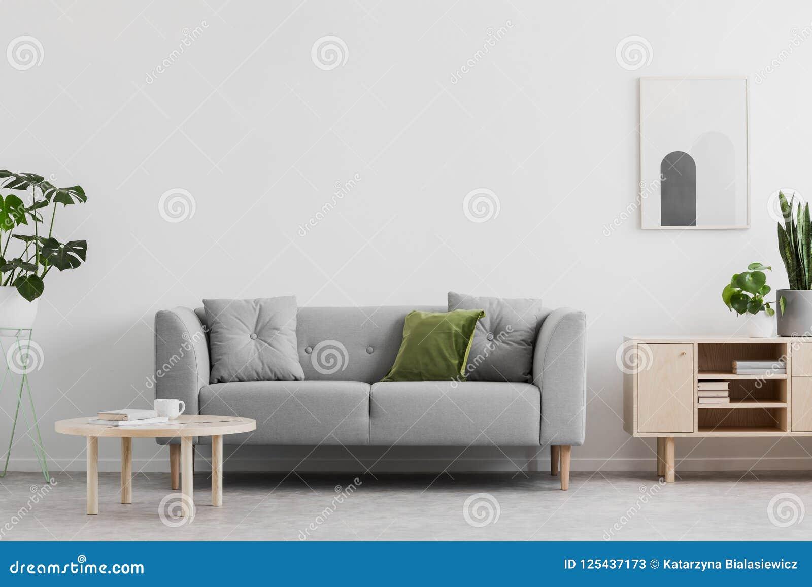 la vraie photo du salon gris avec le coussin vert, la table basse en