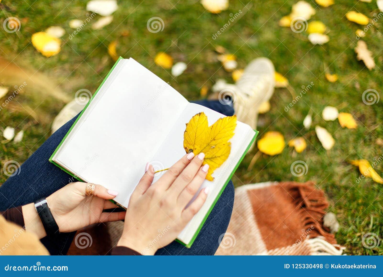 La vue de ci-dessus sur des mains de femme avec le livre ouvert utilisant la feuille de yeelow aiment le repère pour un livre, en