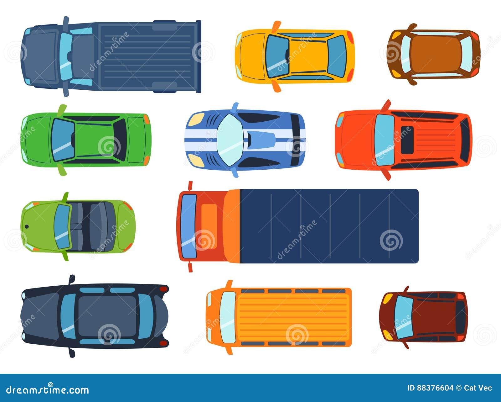 La vue supérieure aérienne sur le transport d automobile différent de collecte de jouets colorés de voiture et le transport de ro