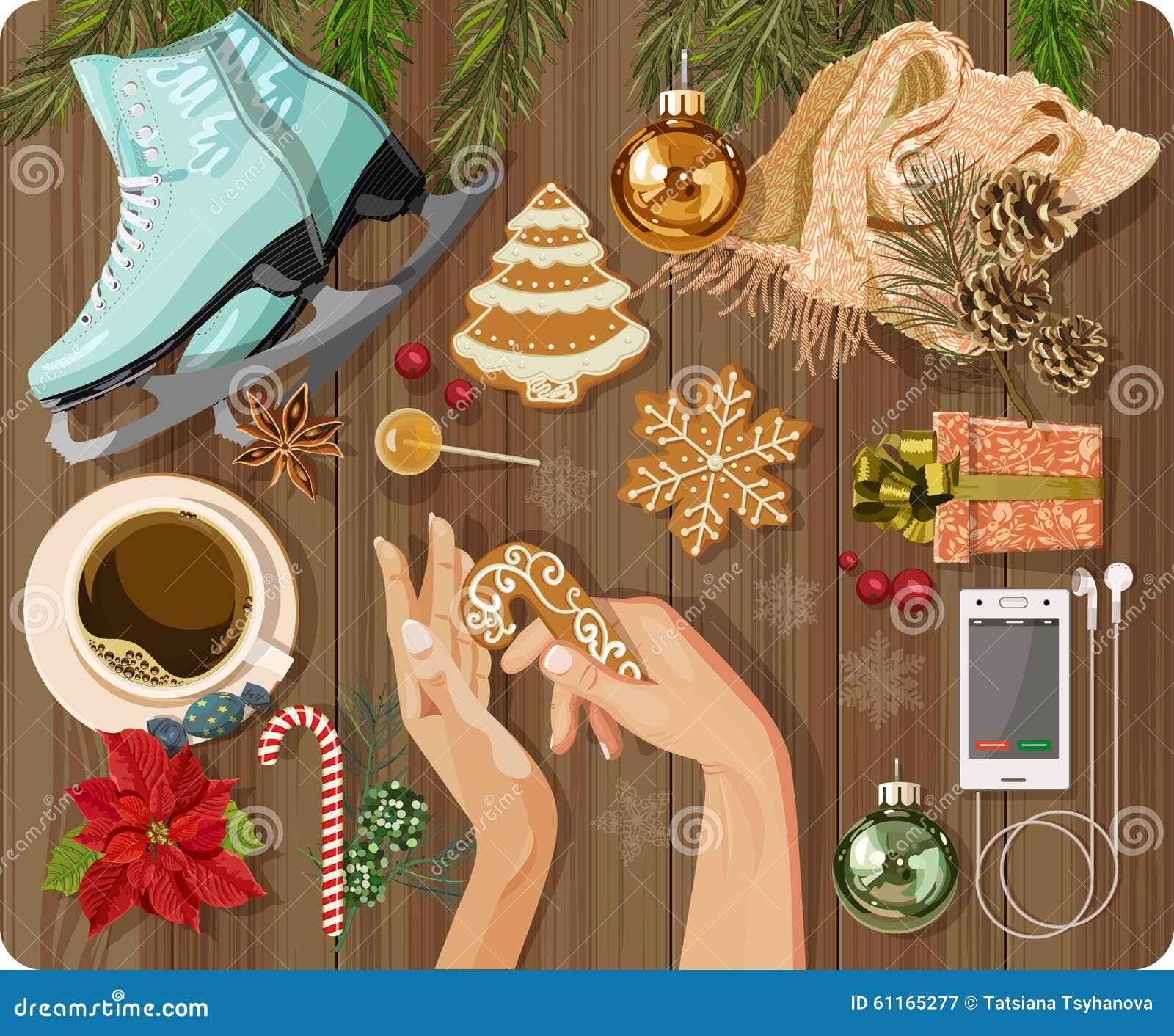 La vue supérieure avec la table texturisée, patinant, pain d épice, sapin s embranche, Noël joue