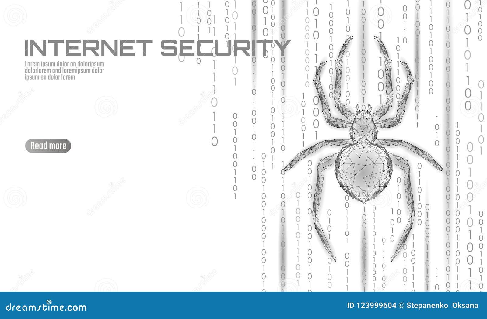 Laag poly de aanvalsgevaar van de spinhakker Van het virusgegevens van de Webveiligheid de veiligheidsantivirus concept Veelhoeki