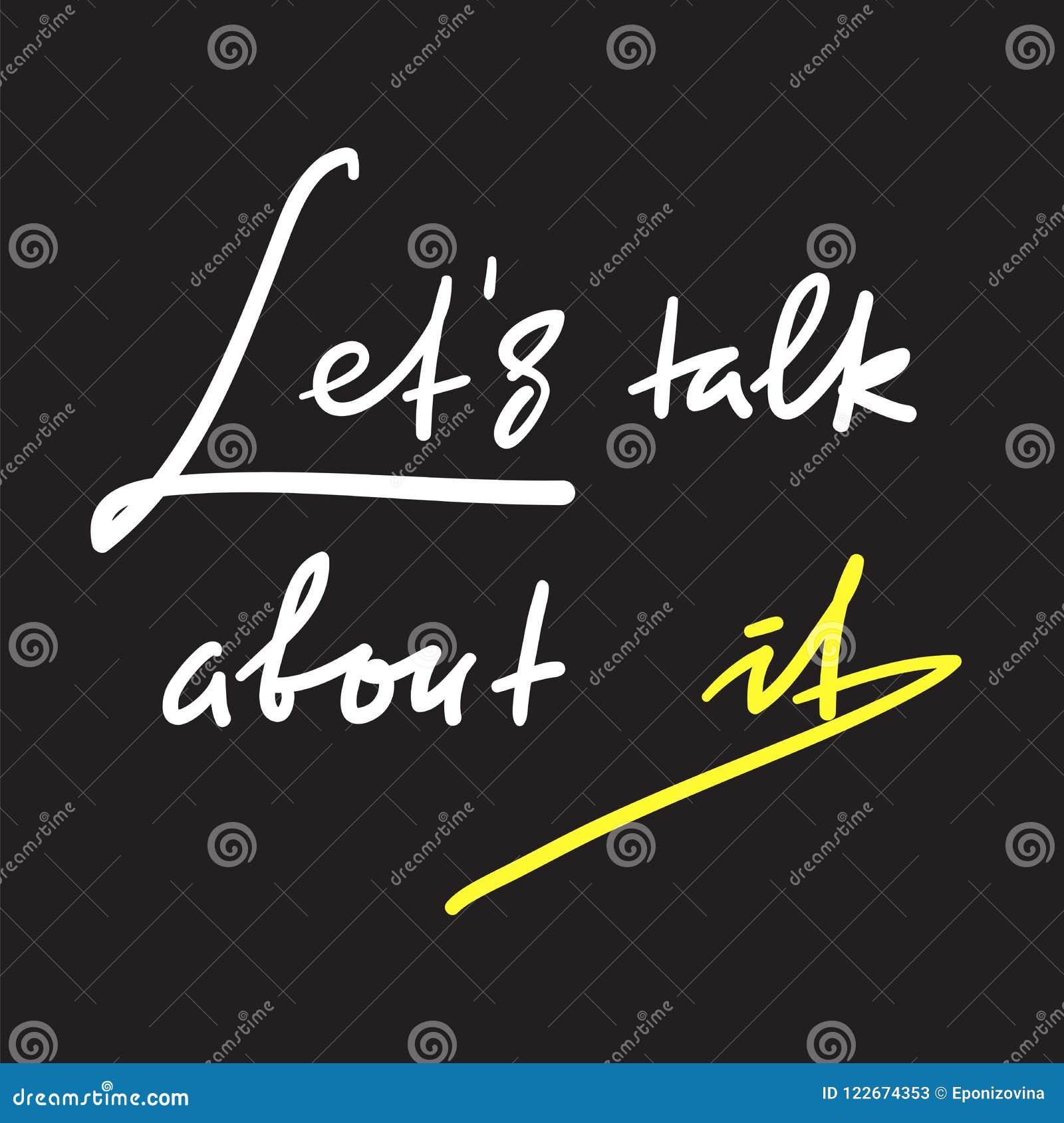 Laat bespreking over het - eenvoudig om te inspireren en motievencitaat Hand het getrokken mooie van letters voorzien Druk voor i