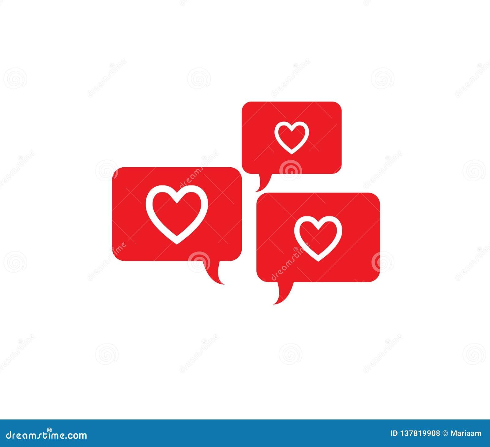 Laat bespreking over liefde, Baby! Het ontwerp van het Webpictogram met rode toespraakbellen en harten