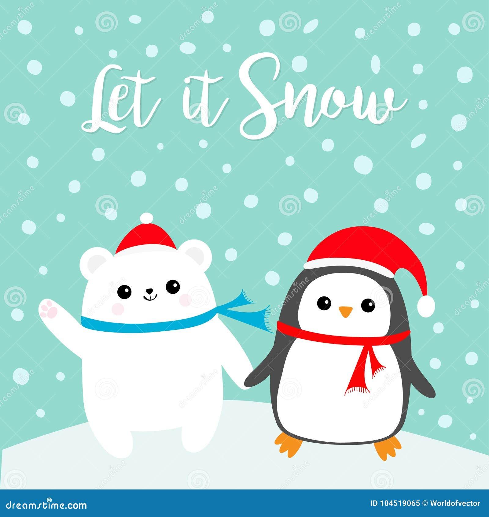 Laat het sneeuwen Draagt het de vogel Polaire wit van de Kawaiipinguïn welp Rode Santa Claus-hoed, sjaal Het leuke karakter van d