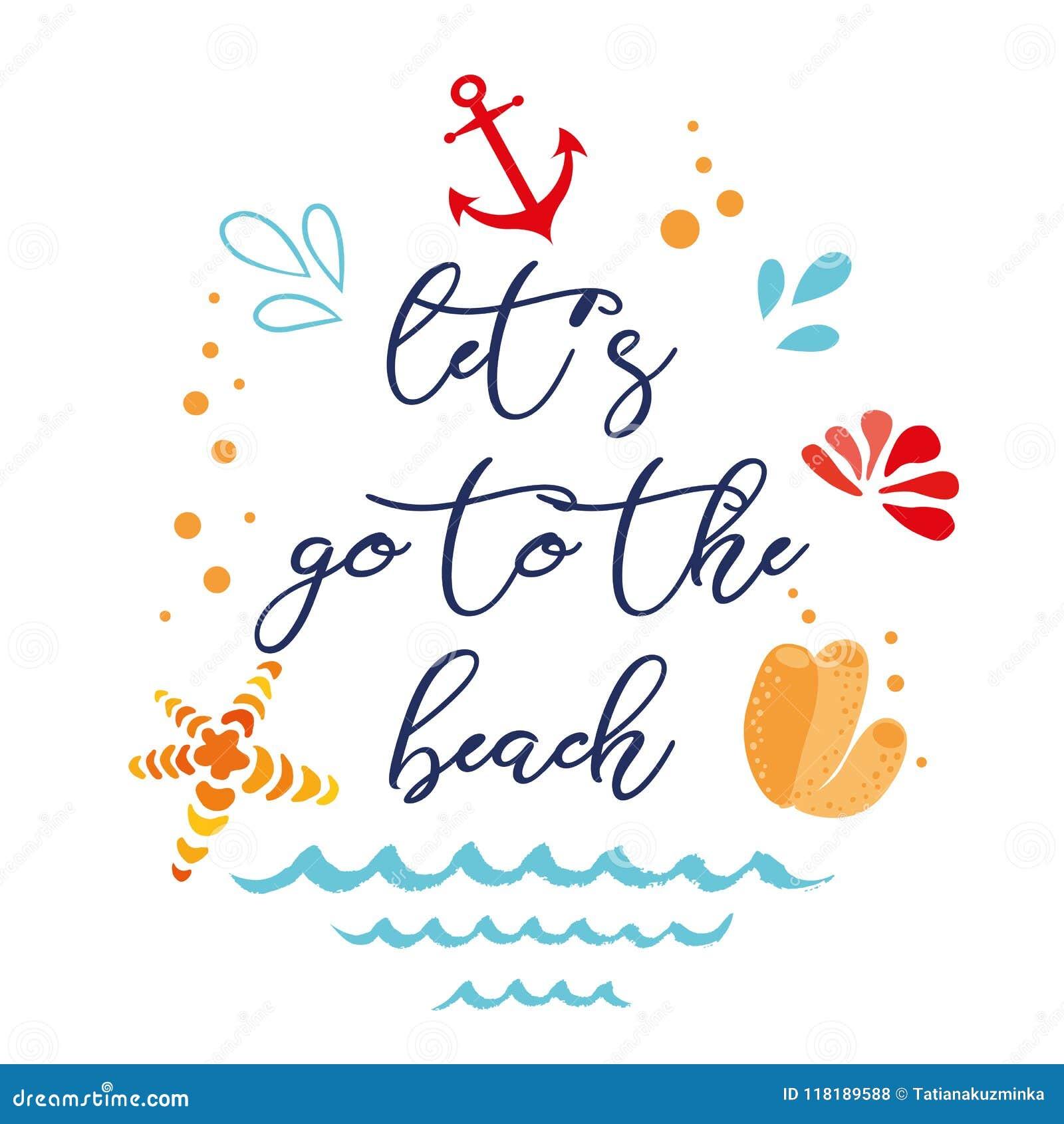 Laat S Naar Het Strand Gaan Vector Inspirational Vakantie