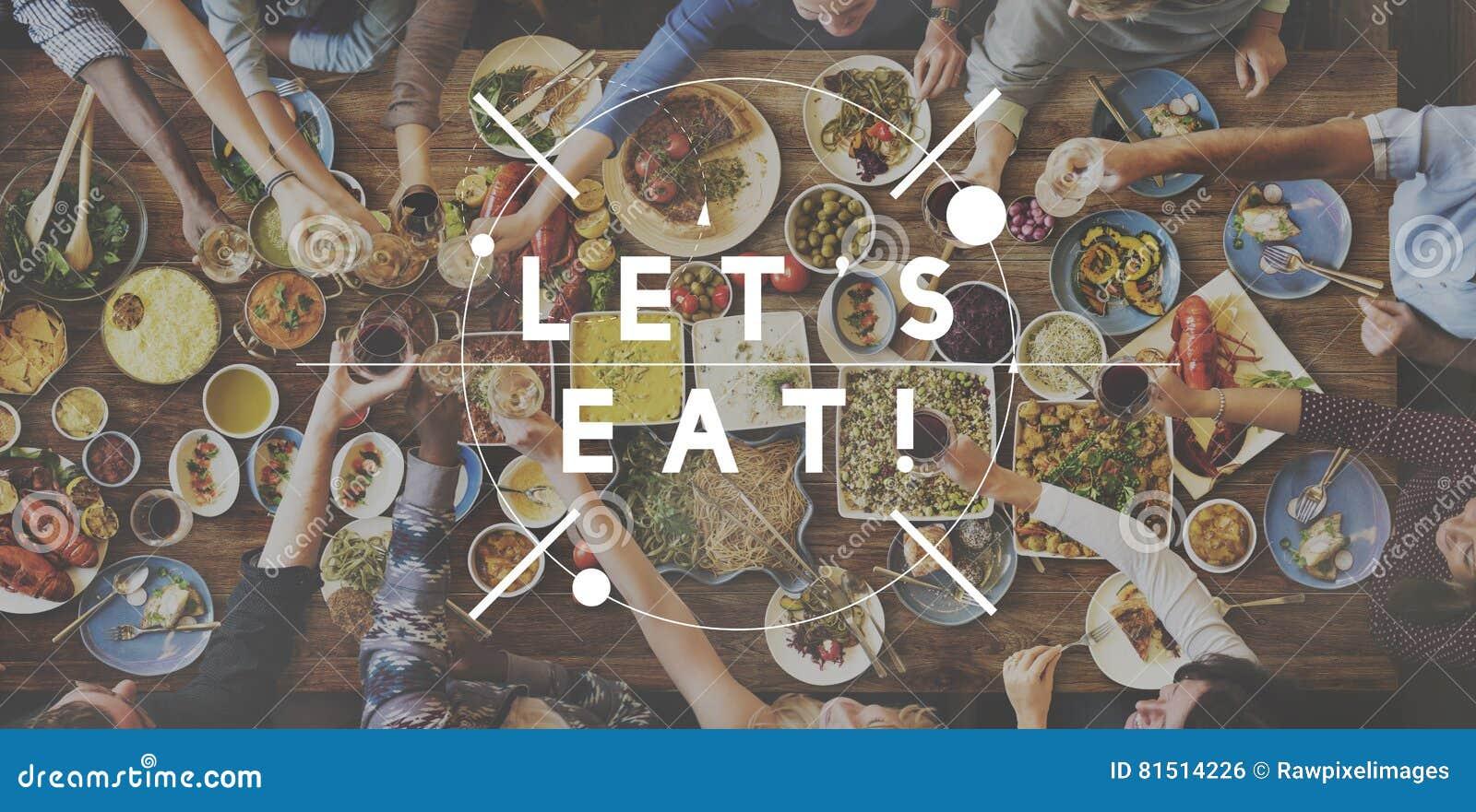 Laat ` s Voedsel eten Etend het Heerlijke Concept van de Partijviering