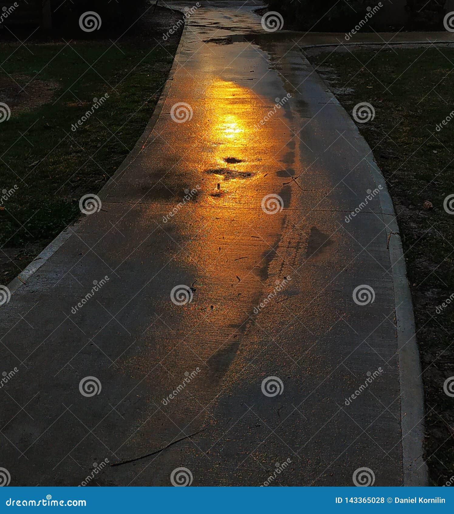 Laatste lichtstralen op het asfalt