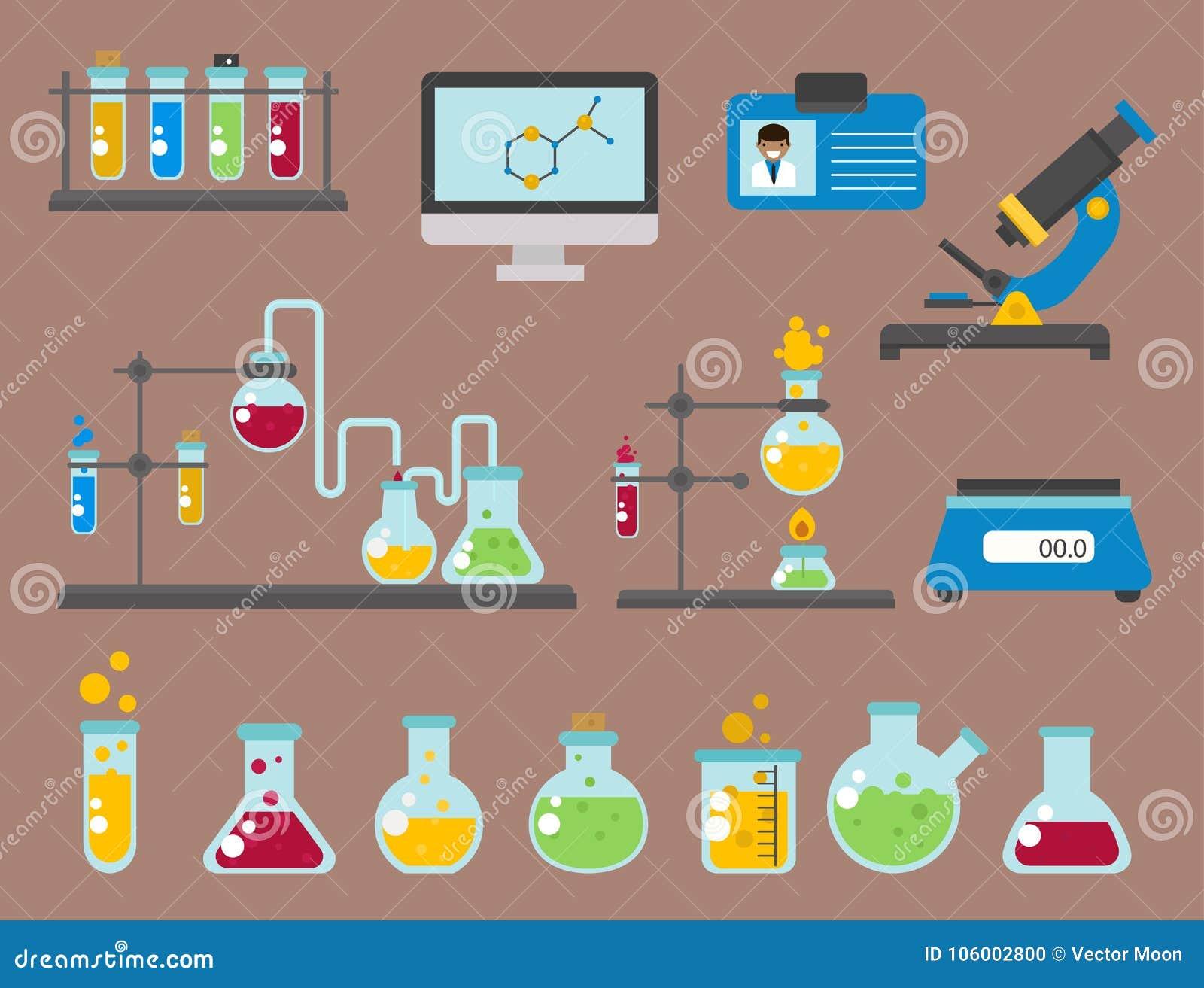 Lab symbols test medical laboratory scientific biology design biotechnology science chemistry icons vector illustration.
