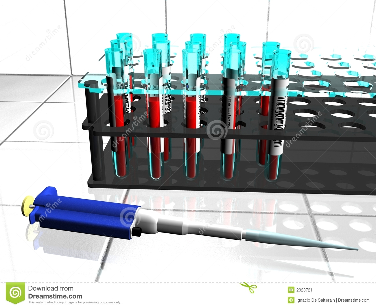 Lab tubes and pipette
