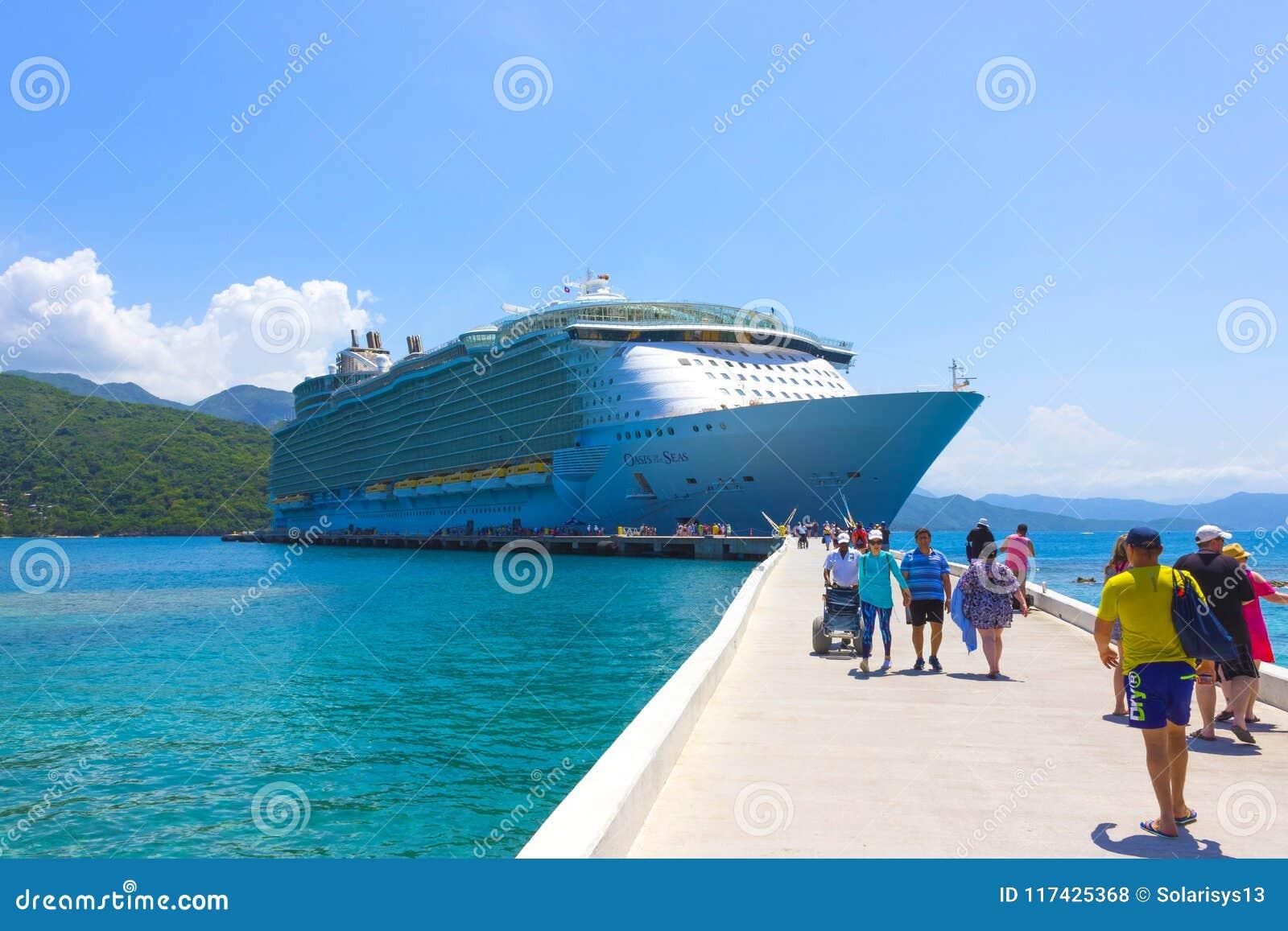 labadee, haiti - may 01, 2018: royal caribbean cruise ship oasis of
