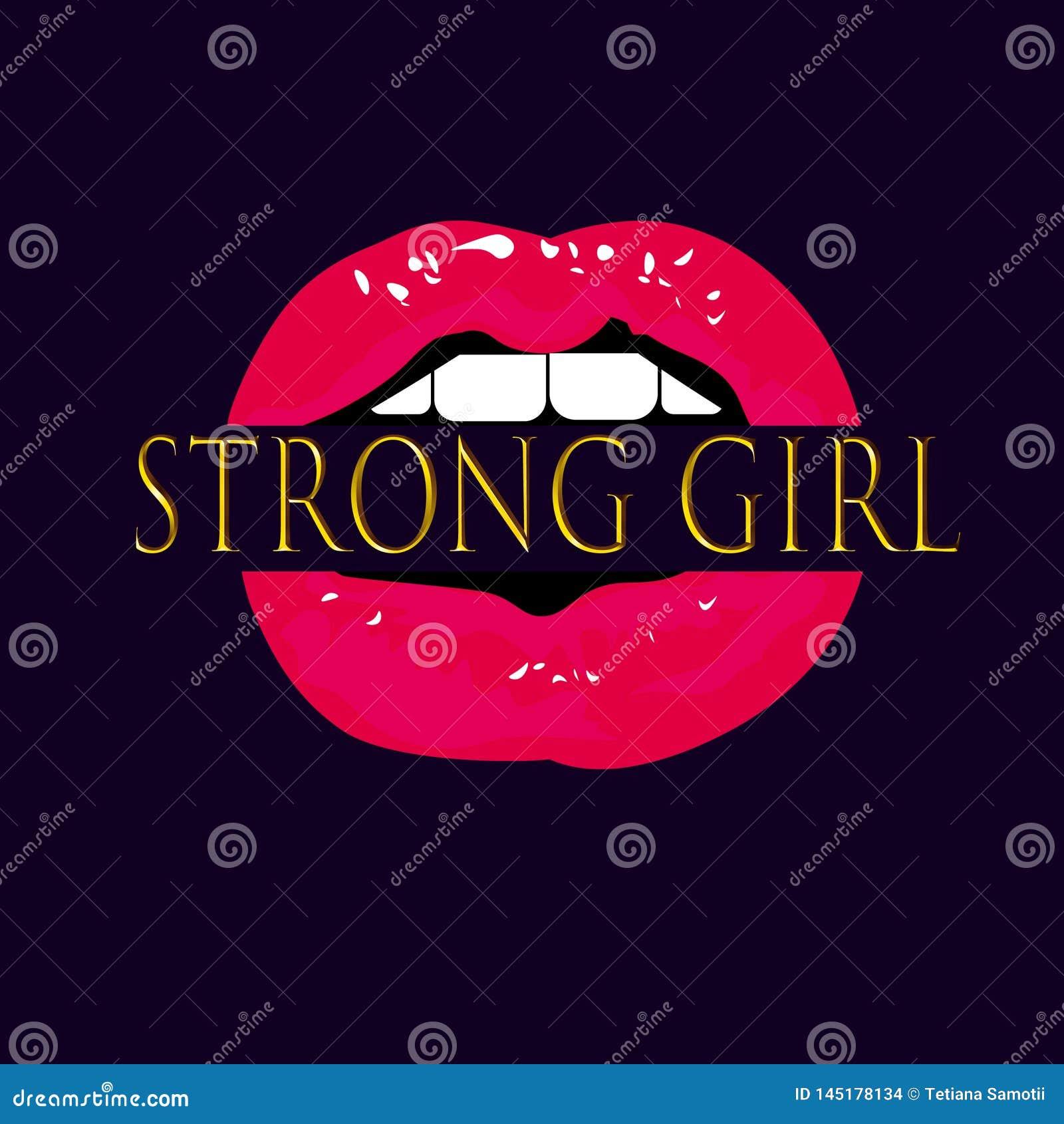 Labbra di vettore di web con il forte segno della donna Illustrazione moderna fresca nello stile di Pop art Bocca femminista di f
