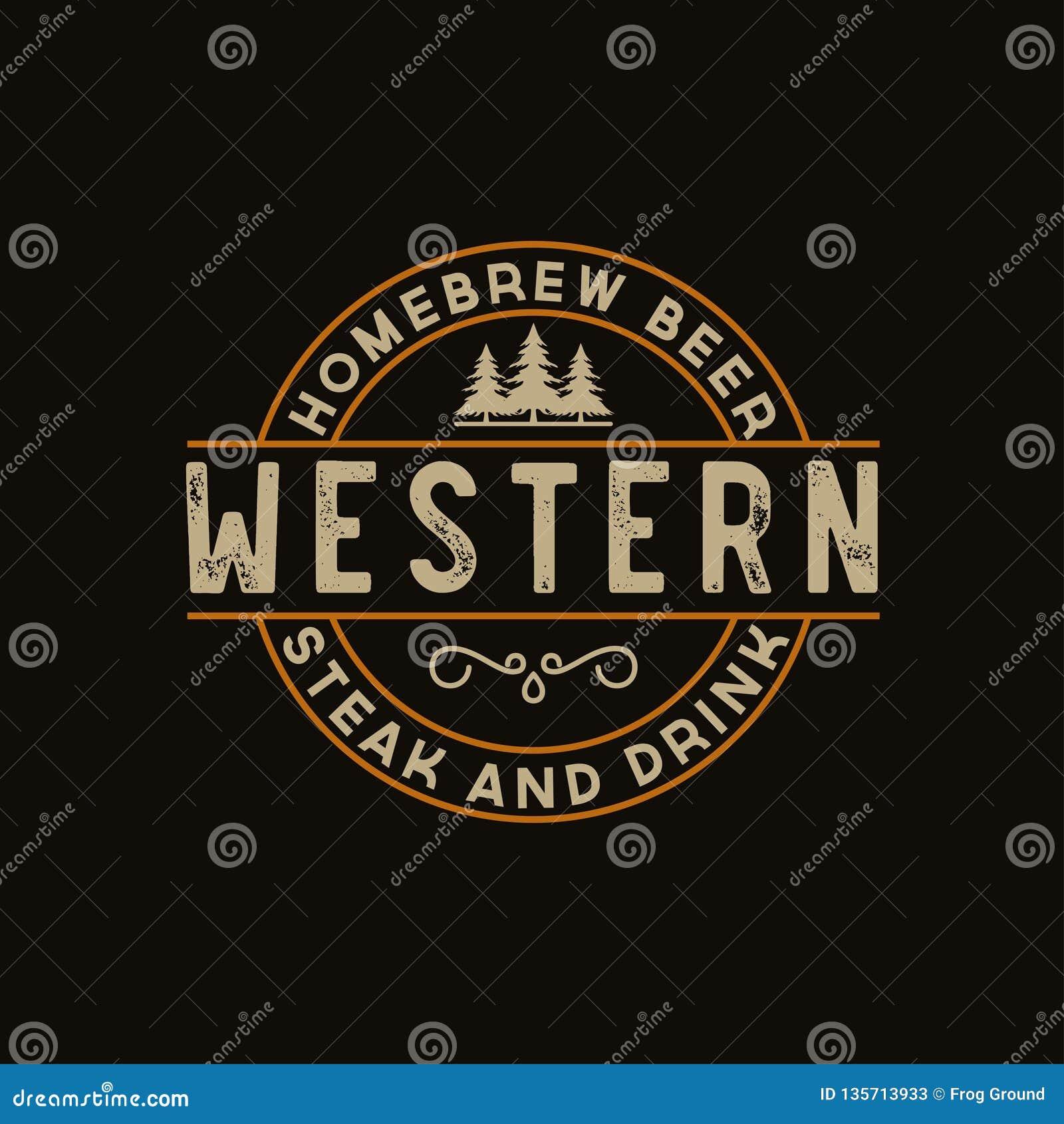 Label antique de frontière de cadre gravant la rétro typographie d emblème de pays pour l inspiration occidentale de Logo Design