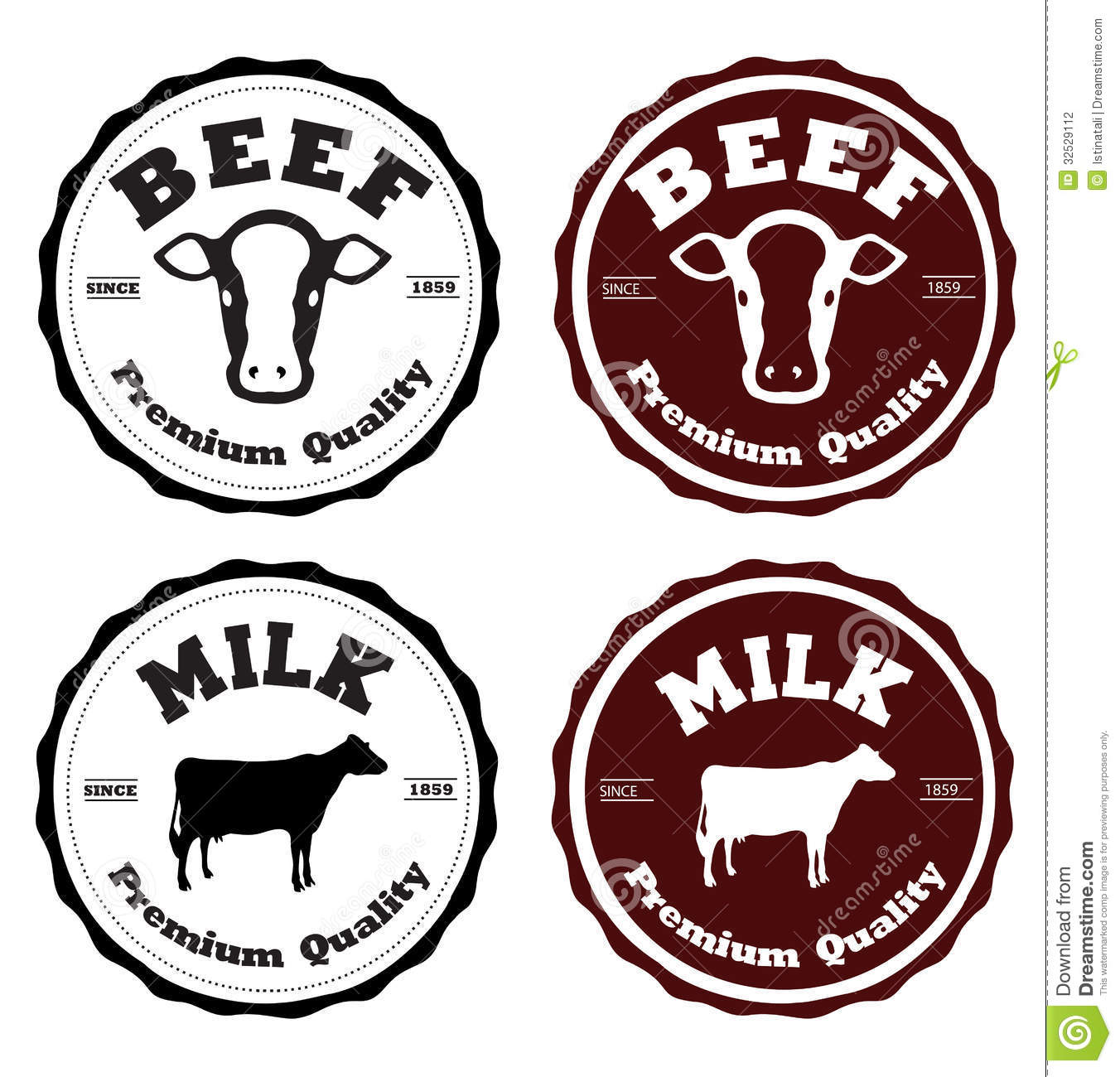 Photography Logos Set: Label Beef And Milk Stock Photography