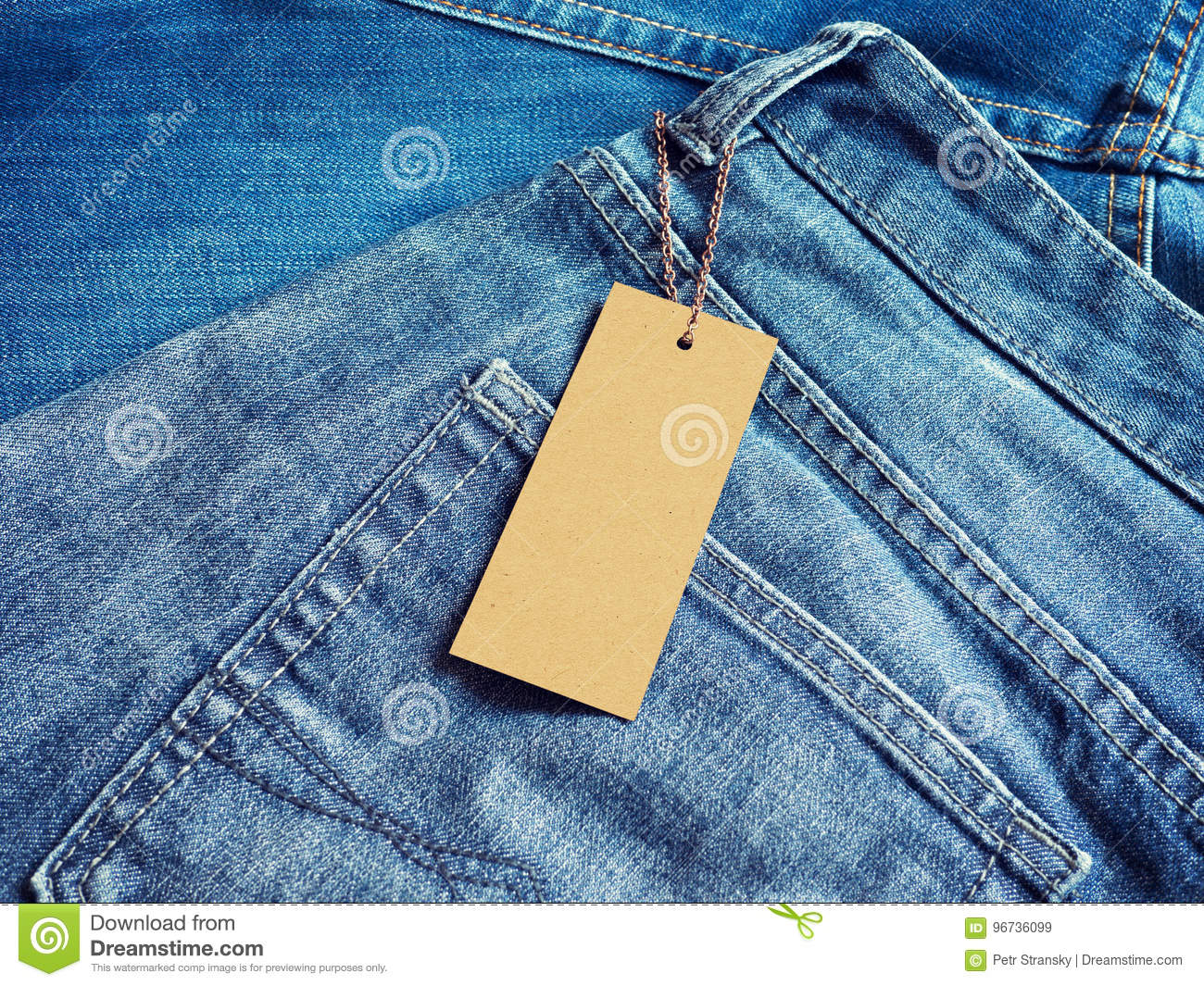 label blank price tag mockup on blue jeans stock image image of
