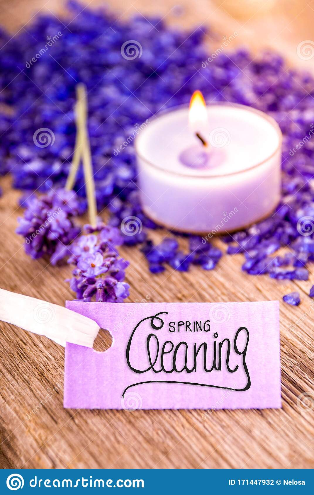 Label With Calligraphy Spring Cleaning, Lavender, Candle