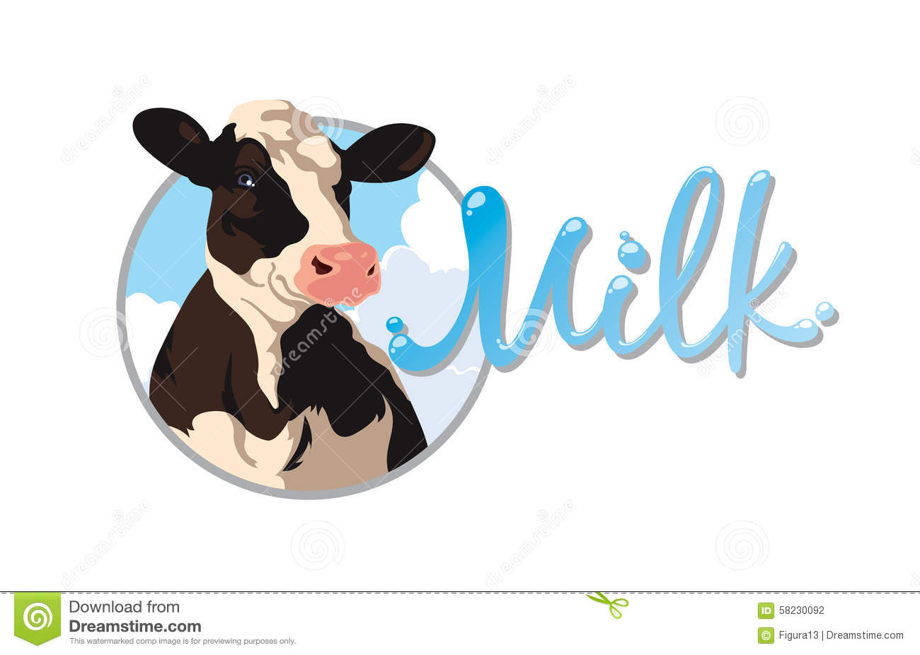 Label With A Cow Stock Vector