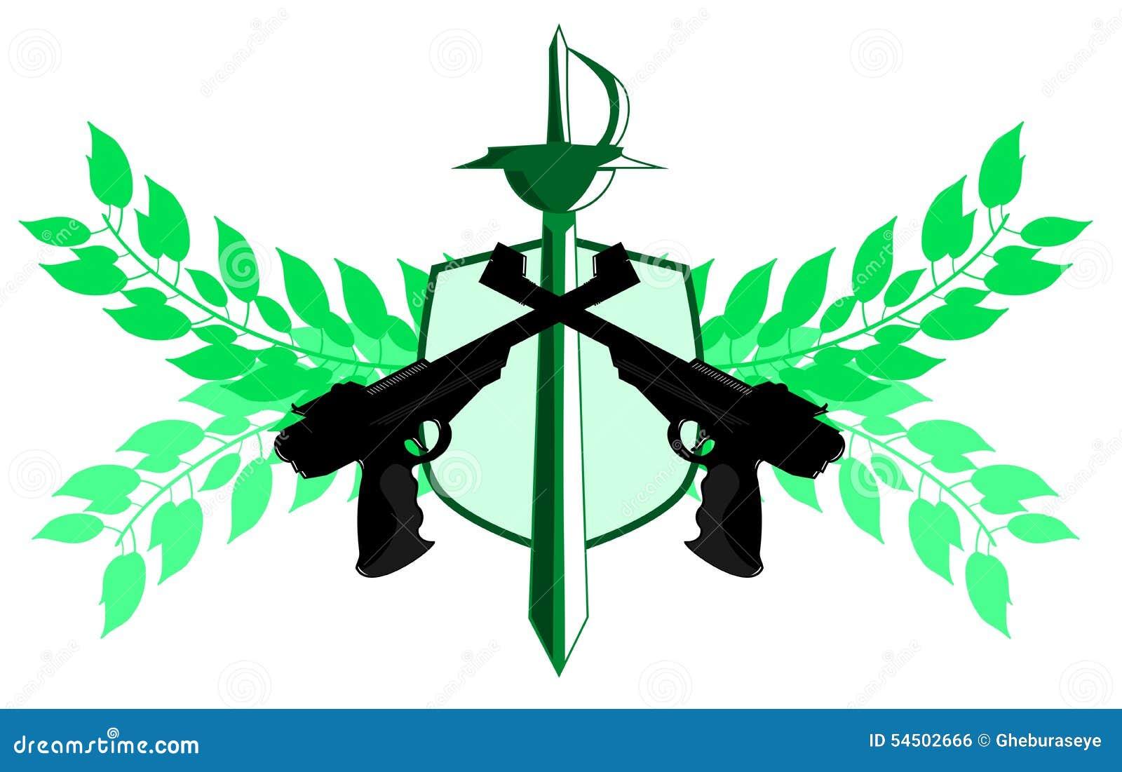 Label d isolement d armes à feu avec l épée et la décoration florale d isolement