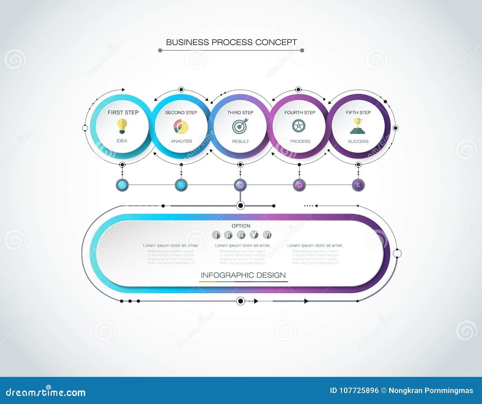 Label de cercle d Infographic 3d de vecteur, conception de calibre Concept d affaires, Infograph avec 6 options de nombre,