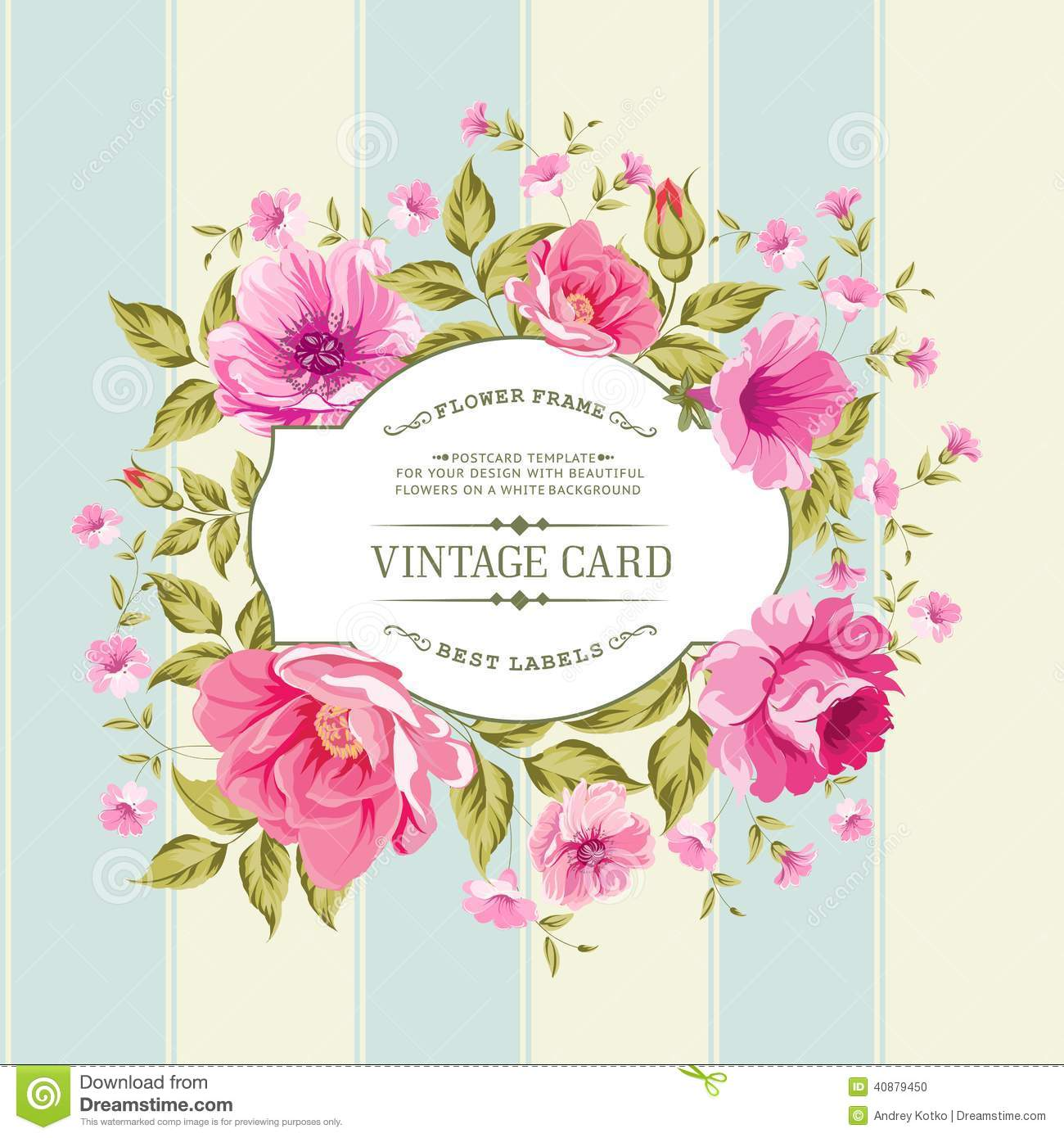 Label de fleur sur la carte de vintage illustration de for Flower tags template free