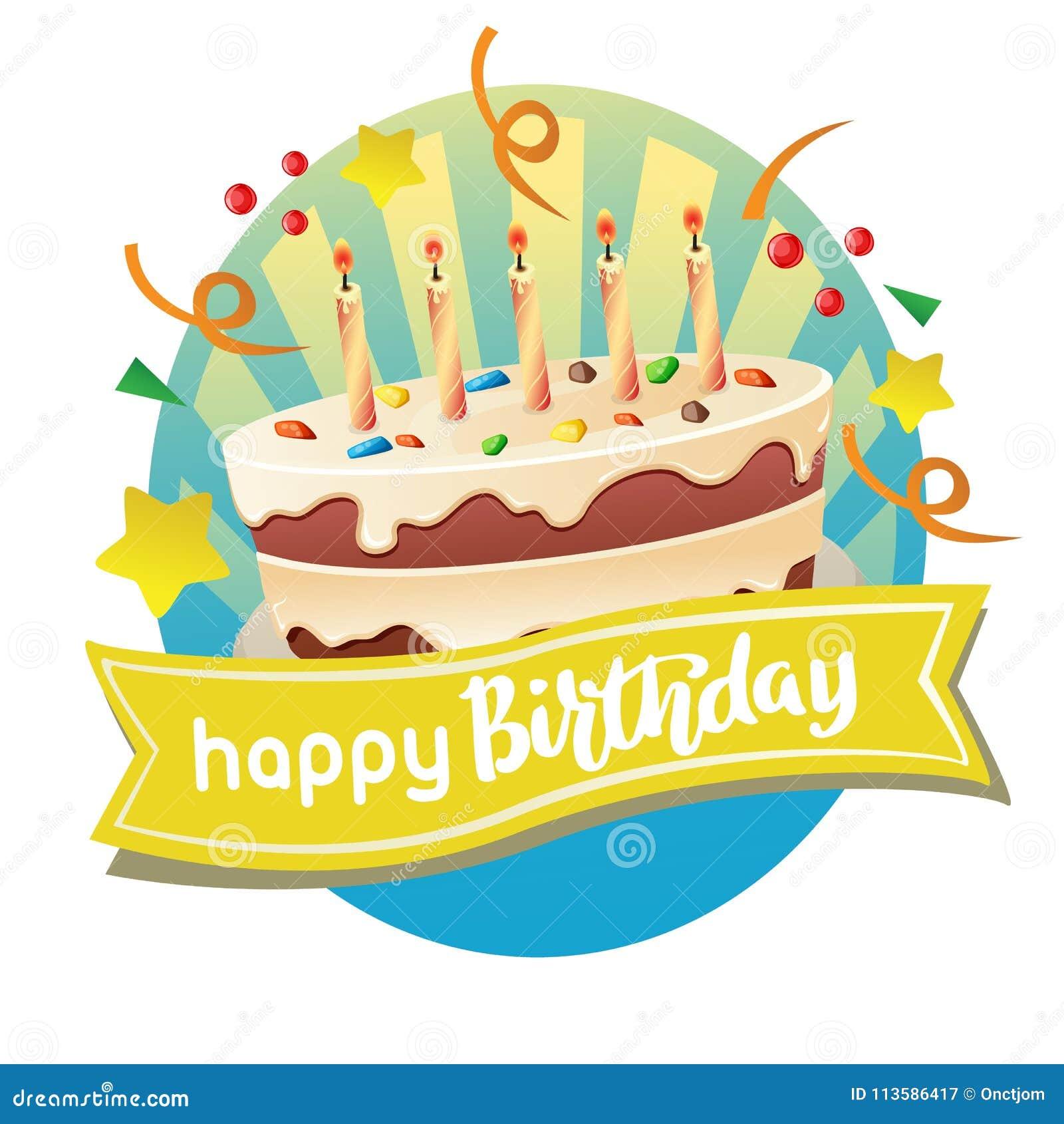 Label de joyeux anniversaire avec le grand gâteau