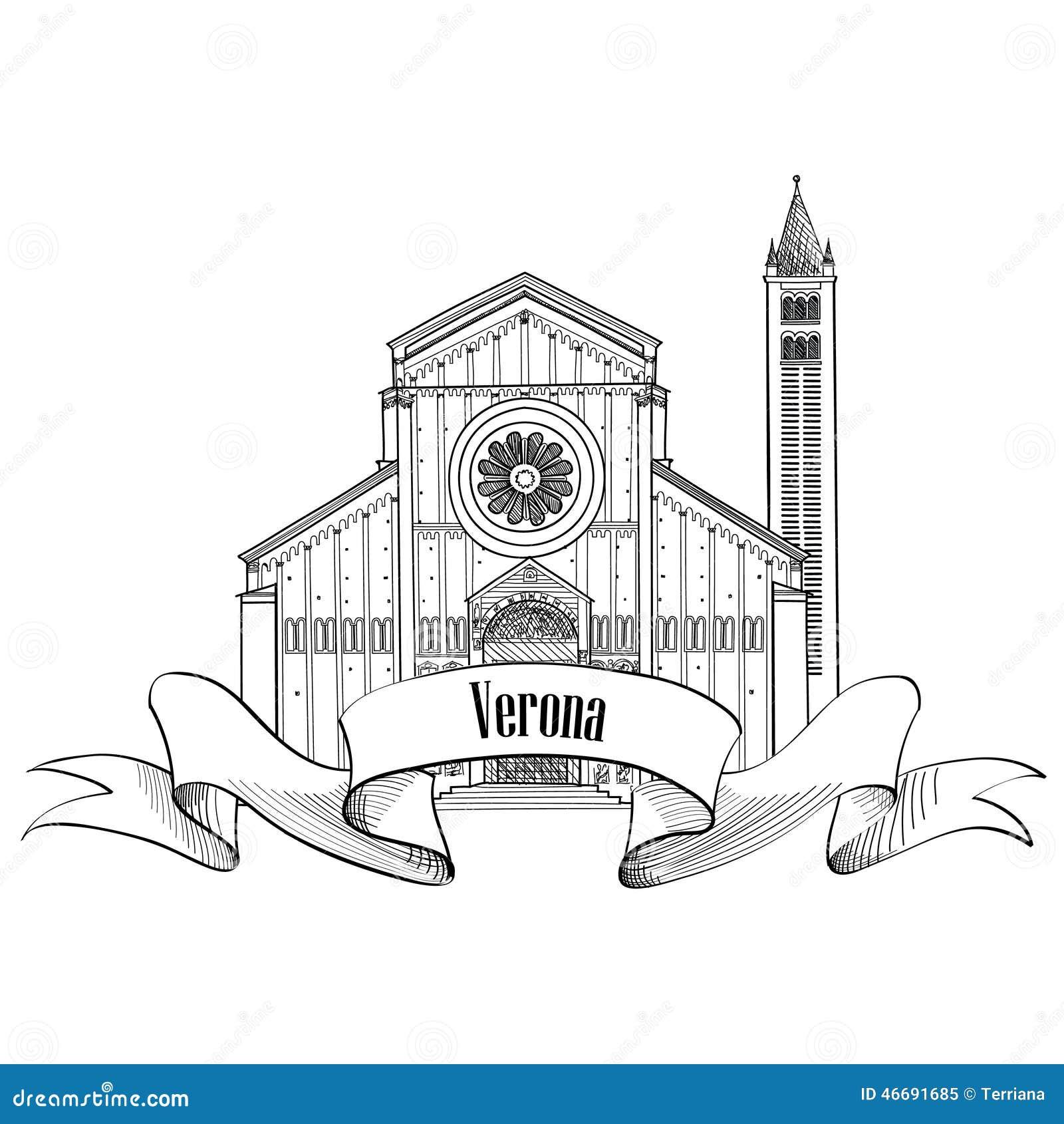 Label de ville de Vérone Icône de l Italie de voyage La SK de construction italienne célèbre