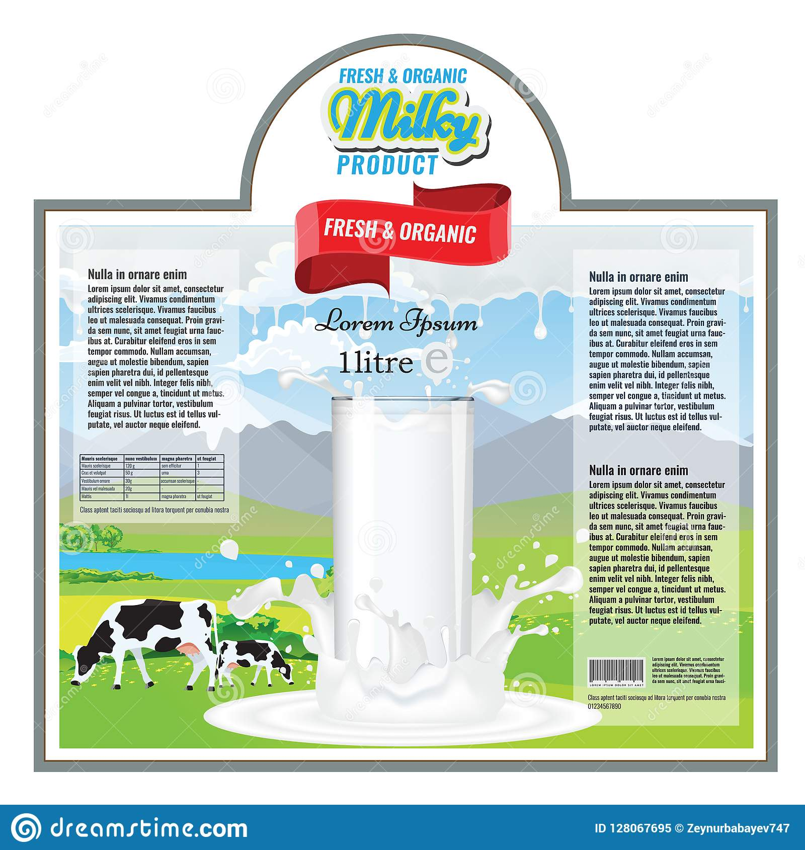 Label Design Template For Milk Or Diary Package  Vector Illustration