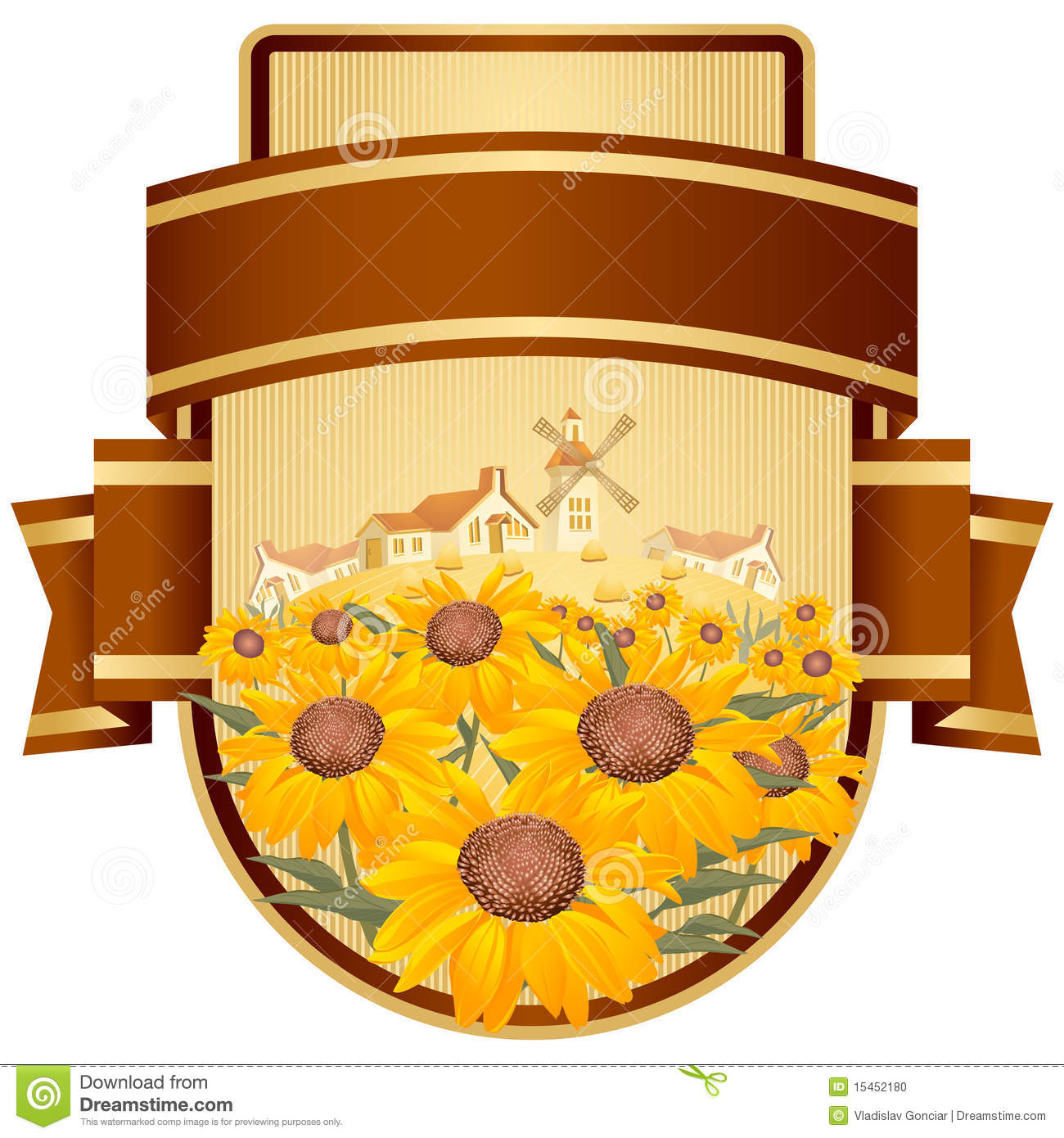 Label design with yellow flowers.
