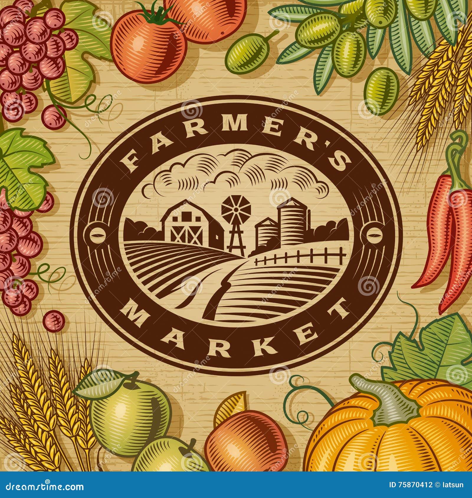 Label du marché d agriculteurs de vintage