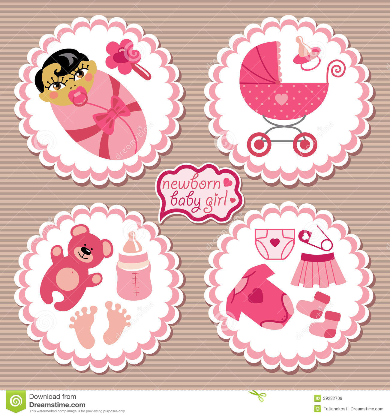 Label with elements for Asian newborn baby girl