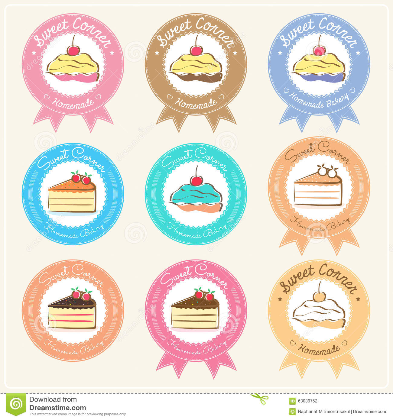 Download Label Et Logo Doux D'insigne De Boulangerie Illustration de Vecteur - Illustration du illustration, cupcake: 63089752