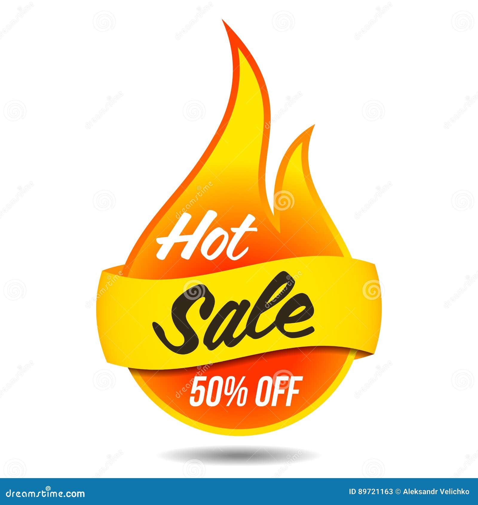 Label flamboyant de vecteur chaud de vente
