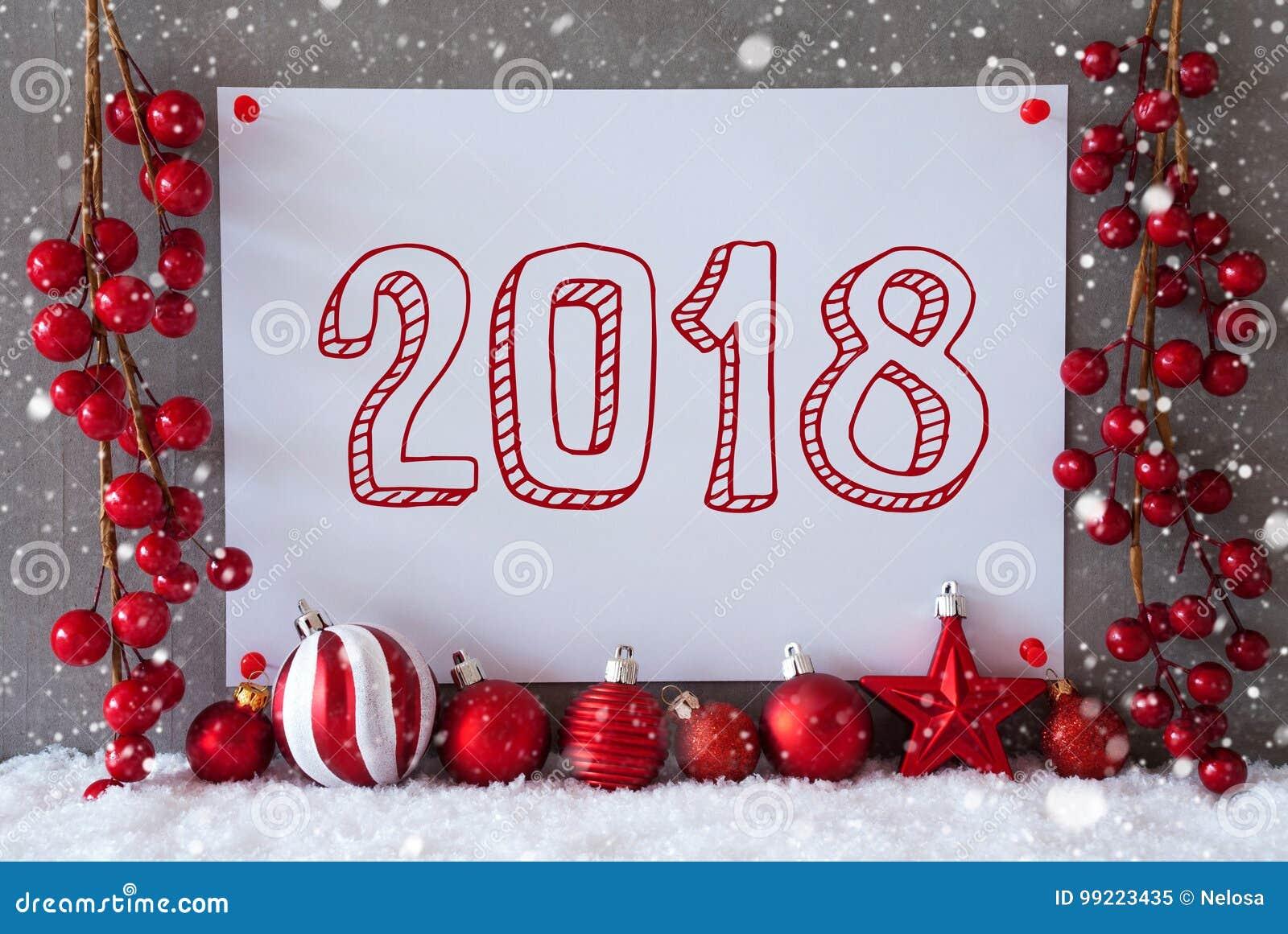 noel 2018 neige Label, Flocons De Neige, Boules De Noël, Texte 2018 Image stock  noel 2018 neige