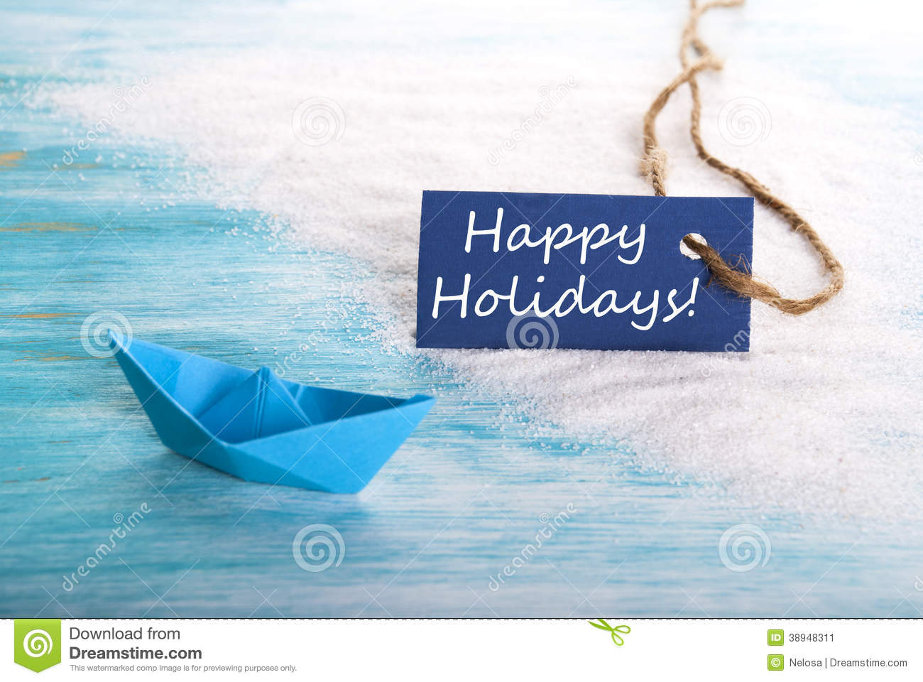 Label with Happy Holidays and Boat