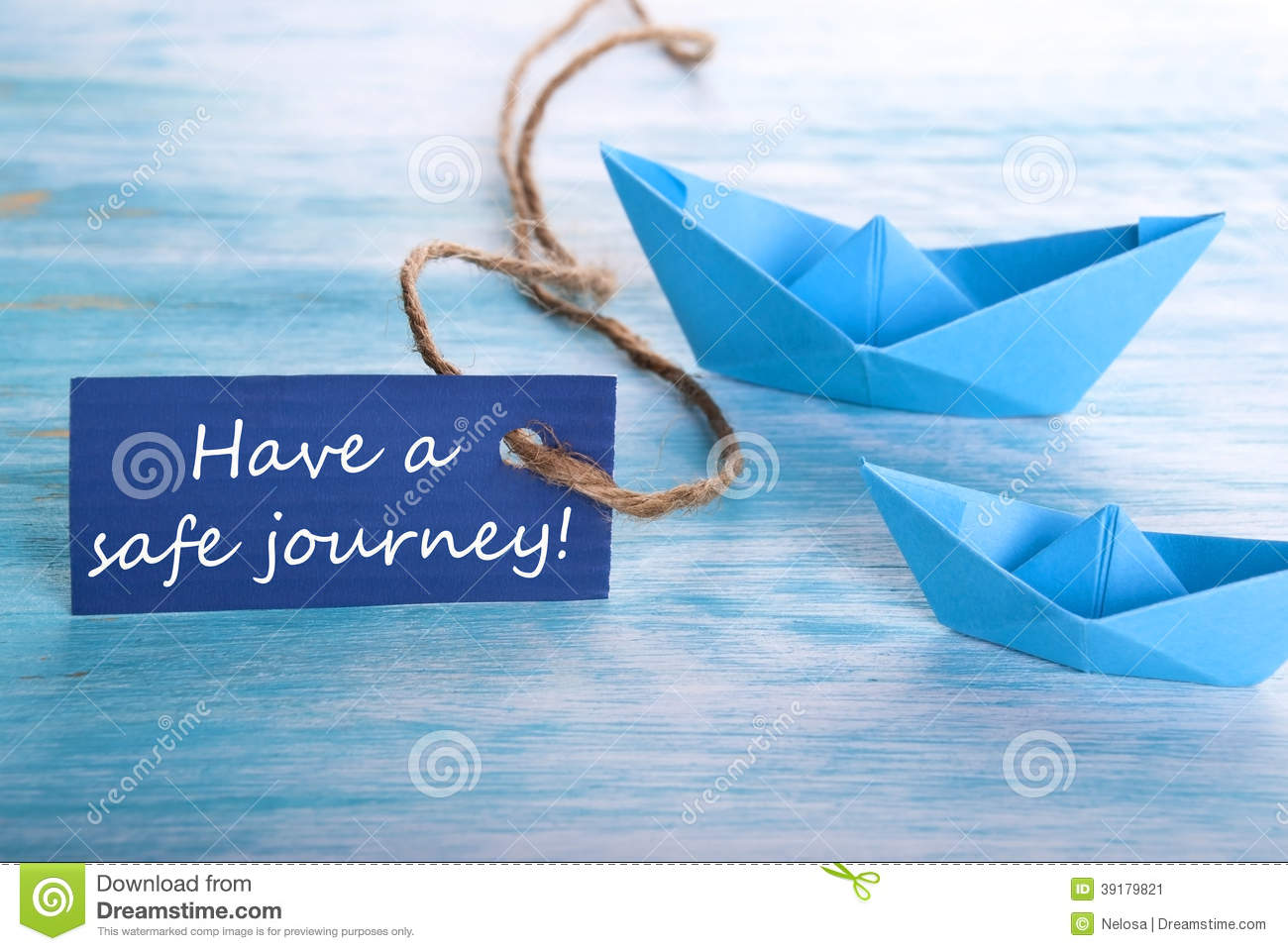 Blue Label with Have a Safe Journey and Origami Boats in the    Have A Safe Journey With Flowers