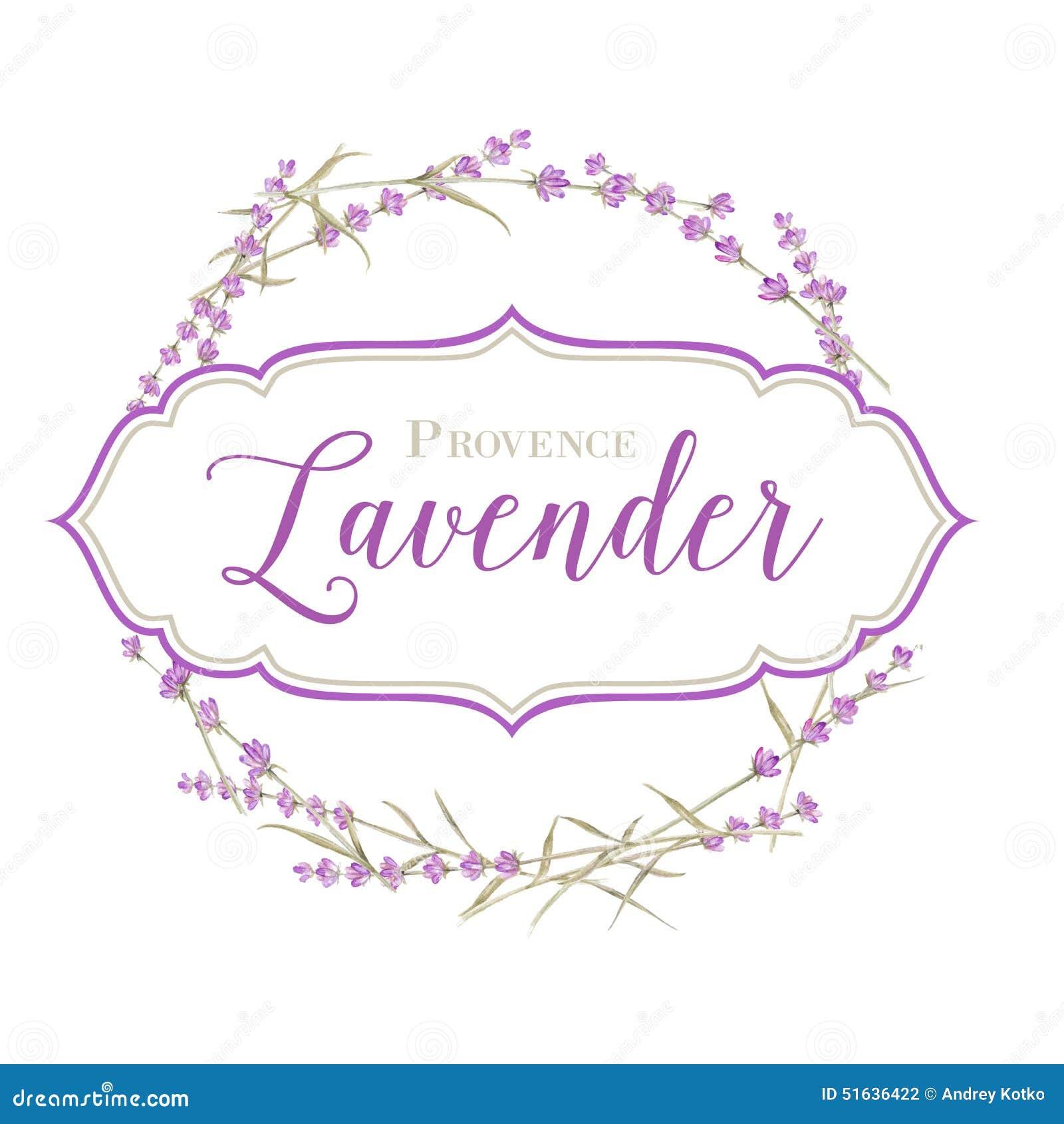 Label with lavender flowers and damask frame. Vector illustration.