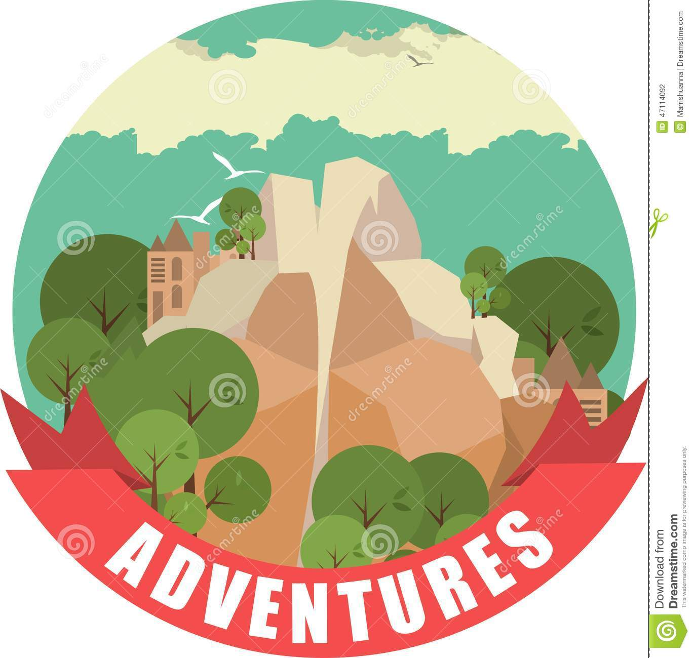 Label With A Picture Of The Nature Of The Mountain Landscape In Round Shape Stock Vector Image