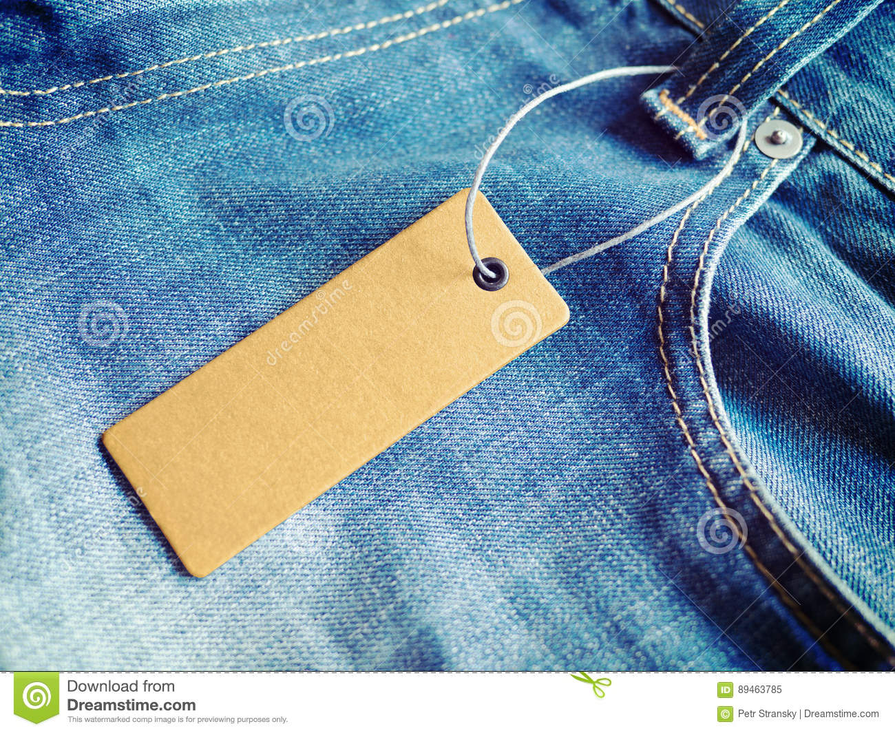 label price tag mockup on blue jeans stock image image of hang