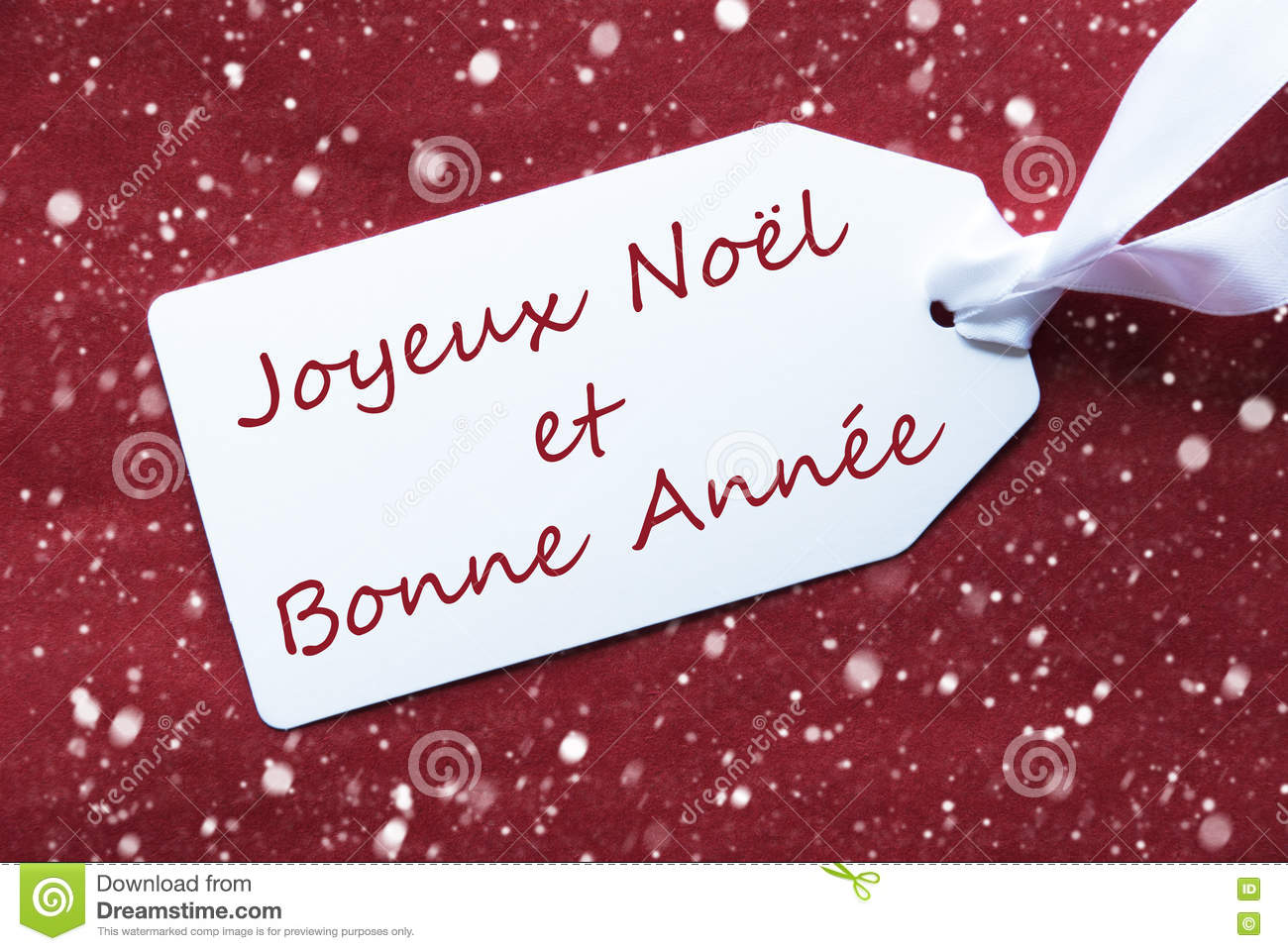label on red background snowflakes bonne annee means new. Black Bedroom Furniture Sets. Home Design Ideas